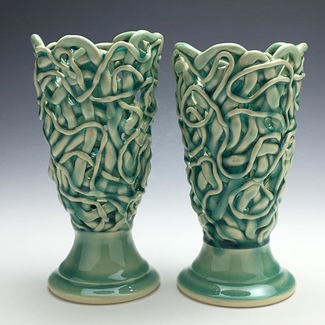 """Votives just out of the kiln, ready for The Philadelphia Potters Third Annual Urban Studio Tour, April 26-28. Four Studios, 25 potters, Hundreds of pots! Neil Patterson (taking over instagram today), along with Ryan Greenheck, Roberta Massuch, Michael Connelly & Hiroe Hanazono are the organizers of the tour. @thephiladelphiapotters or www.thephiladelphiapotters.com. Guest artists at Neighborhood Potters for the tour and """"Young Guns & Geezers"""" are @lisanaplesceramics @royceyoderceramics @adamledfordceramics @sashabarrettceramics @jesssicahans @threetceramics #thephiladelphiapotters #urbanstudiotour #hanazonostudios #sandipierantozzi #greenheckceramicsstudio #baileystreetartscorridor #neighborhoodpotters @connellymichael @ryanjgreenheck @hiroehanazono @bertiegoldtooth"""