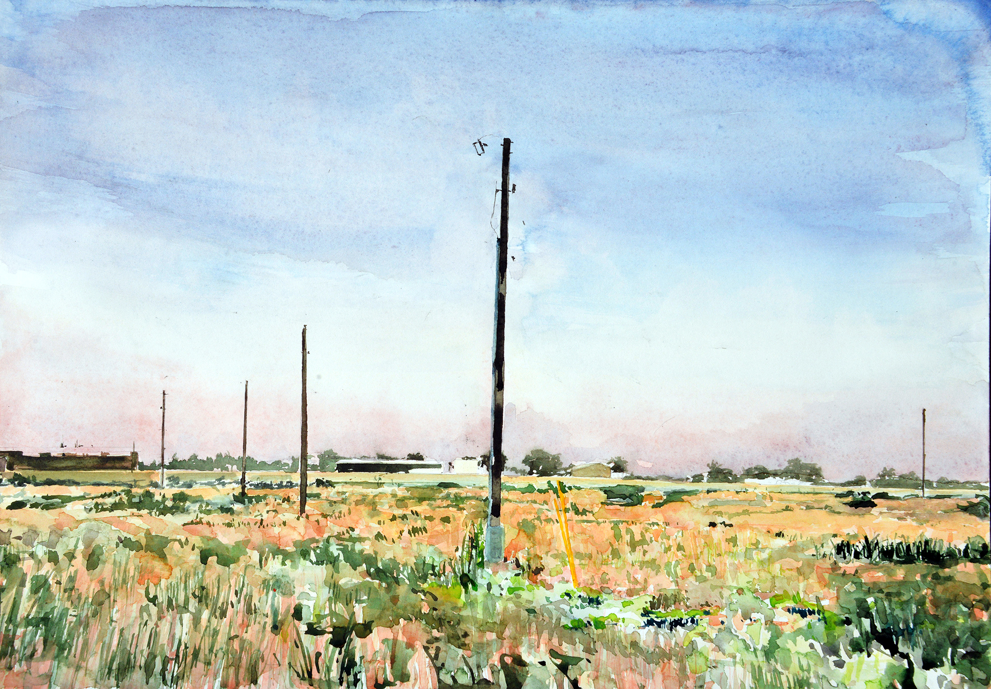"AMoCA Collection     Back Field , watercolor, 16"" x 22"", 2016"