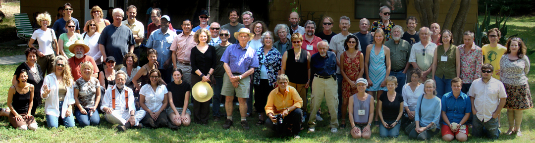 Founder Don Anderson (middle, wearing hat) is surrounded by former fellows of the Roswell Artist-in-Residence Program, taken during the festivities held over Labor Day weekend.
