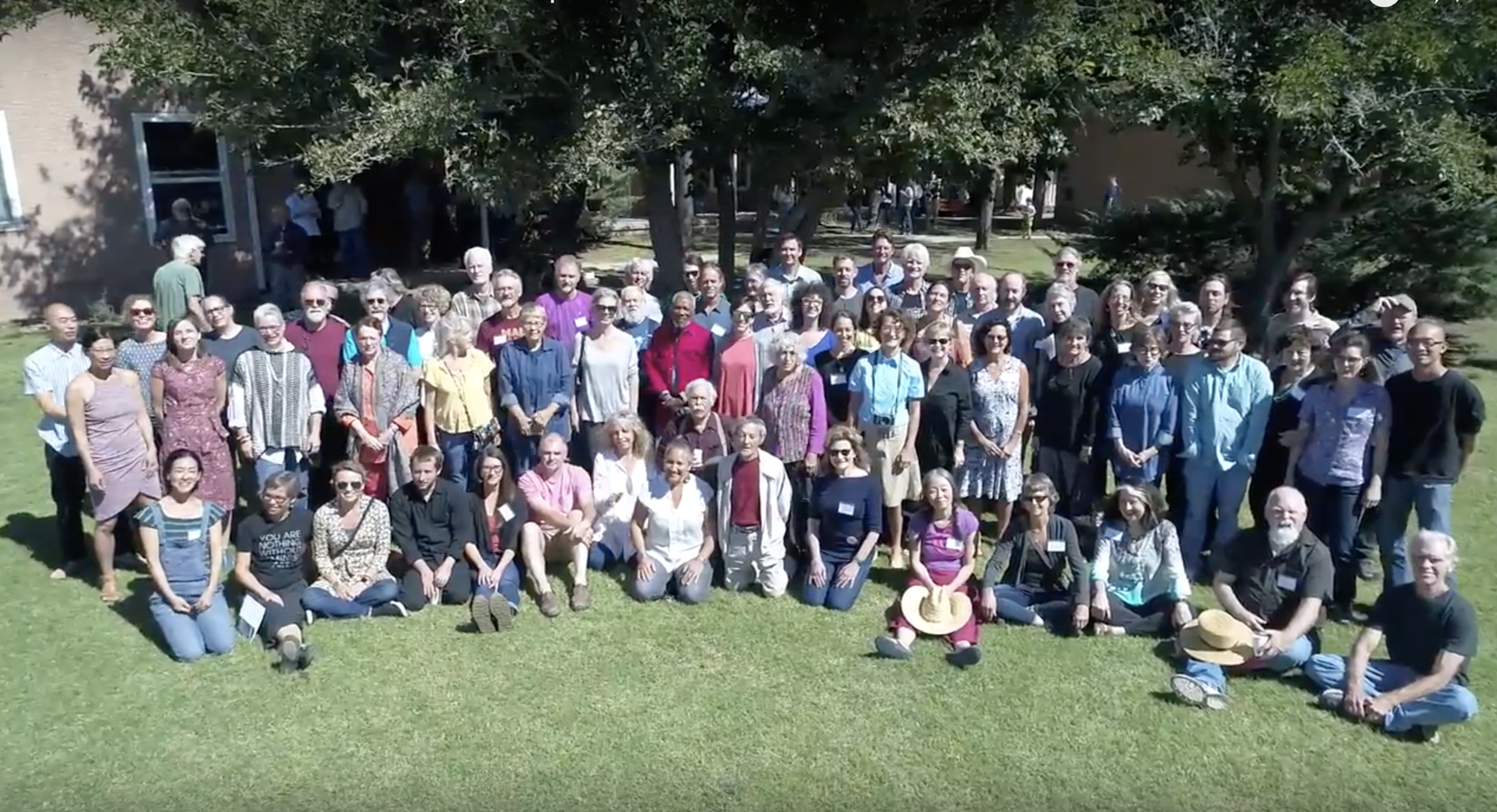 RAIR Residents 50th Anniversary Group Photo (video still) - RAIR 50th reunion at The Historic Studios on Berrendo Rd., Roswell, NM. 10/7/17. Pictured here, several generations of RAIRs gathered together at The Historic Studios to celebrate it's 50 year.  Watch the video.