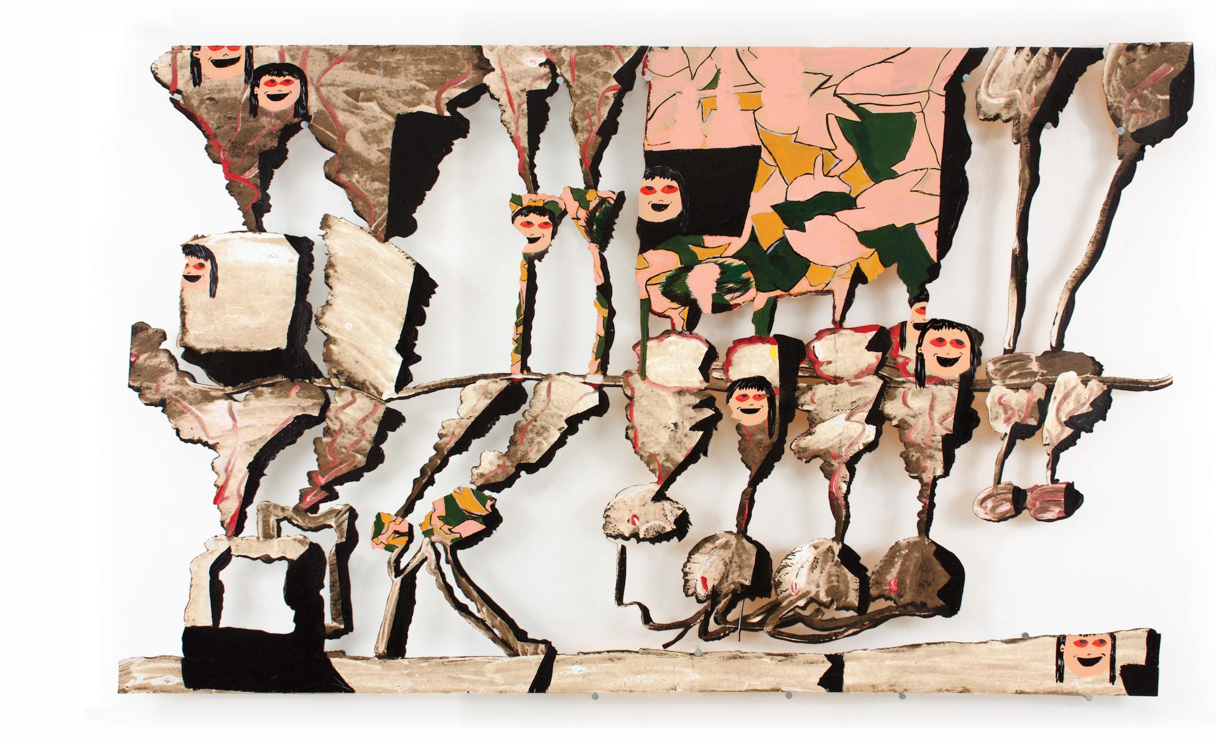 "AMoCA Collection    Cherry Bomb, acrylic, spray paint, tar paper, nails, 36"" x 58"" x 2"",2005 - 2015"