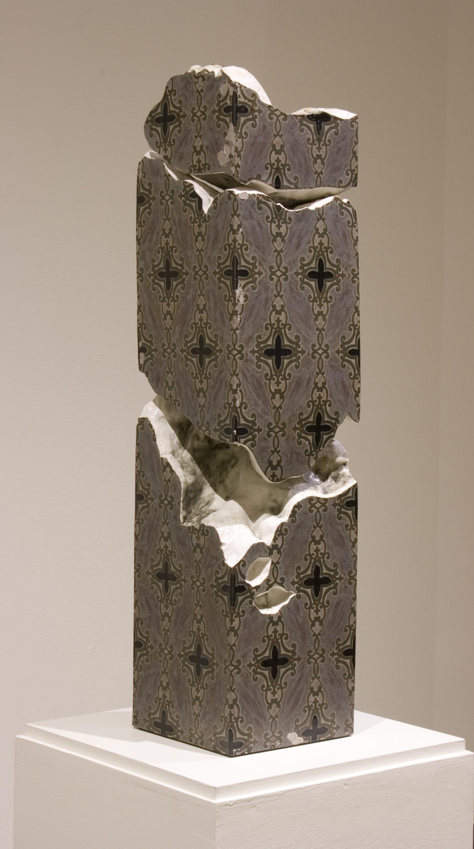 "AMoCA Collection    Dolomite Pillar , stoneware, porcelain, 40""x10""x10"", 2013"