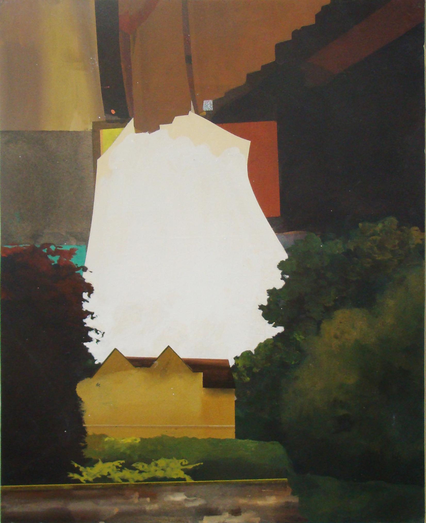 "AMoCA Collection | Curtain , gouache on board, 9""x12"", 2010"
