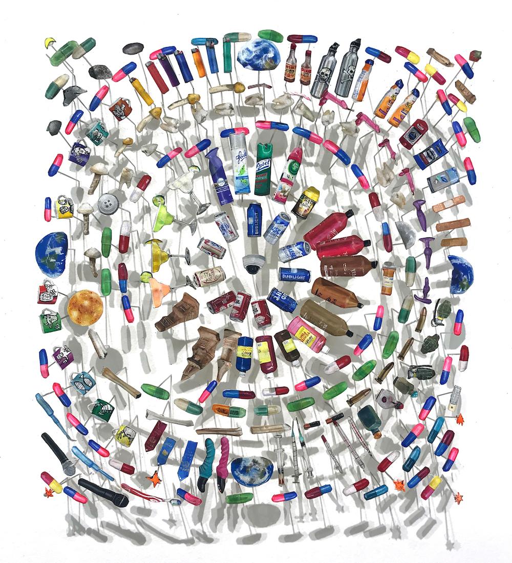 AMoCA Collection  |  Zodiac ,gouache, paper, pins,6.75 x 8 x 1.5 inches, 2017