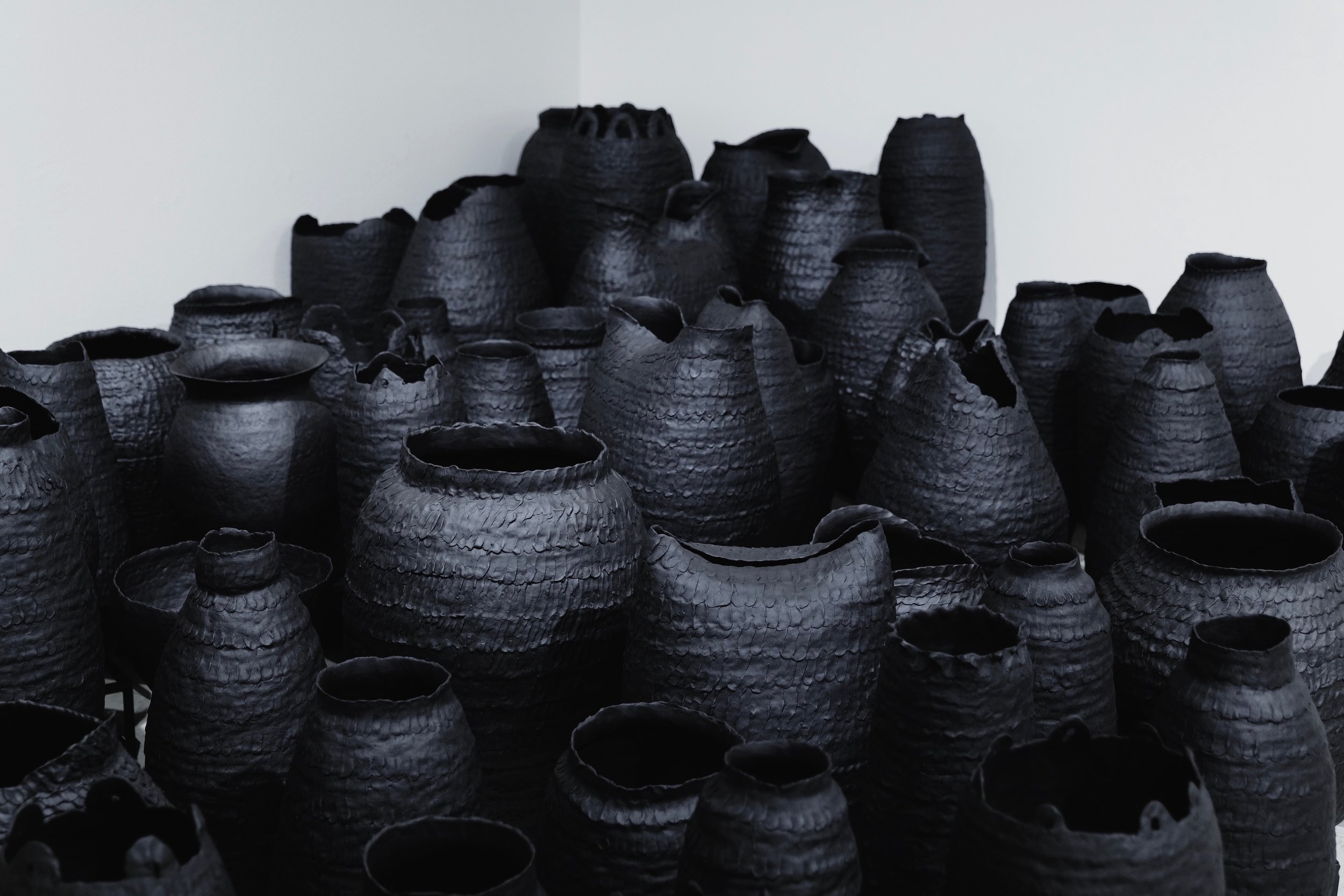 AMoCA Collection  |  Urns  (detail), ceramic, metal, dimensions variable, 2019