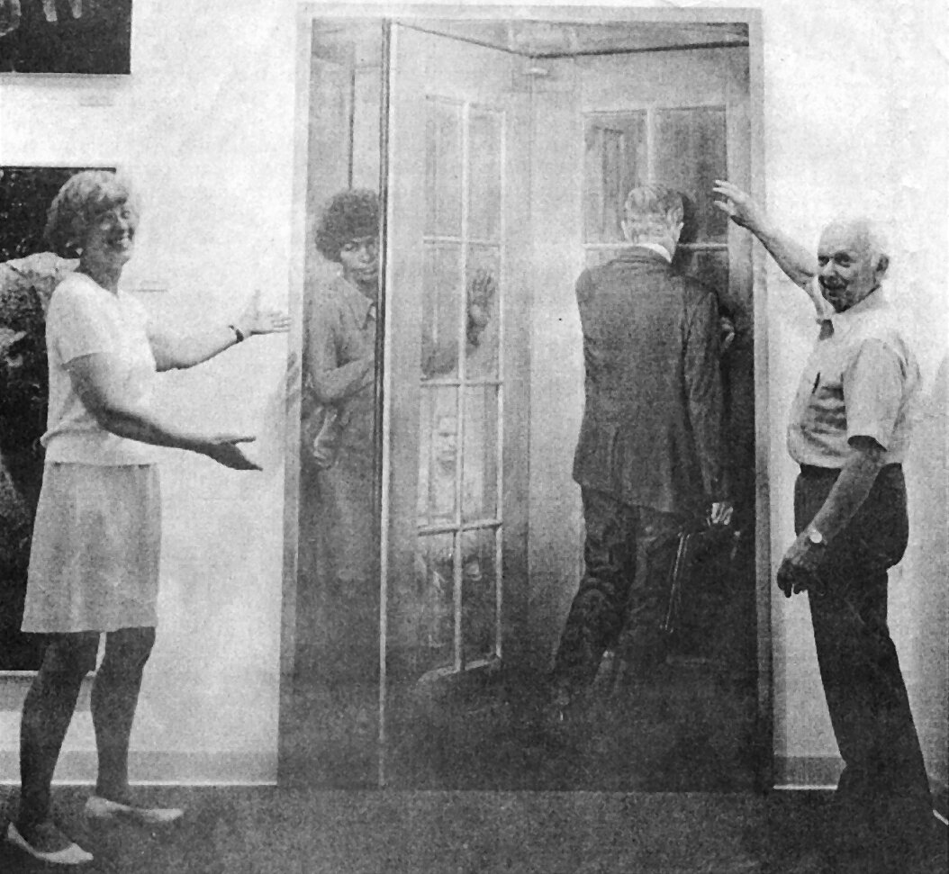 """Sally and Don Anderson introducing Willard Midgette's """"Revolving Door"""" to the public in 1994."""