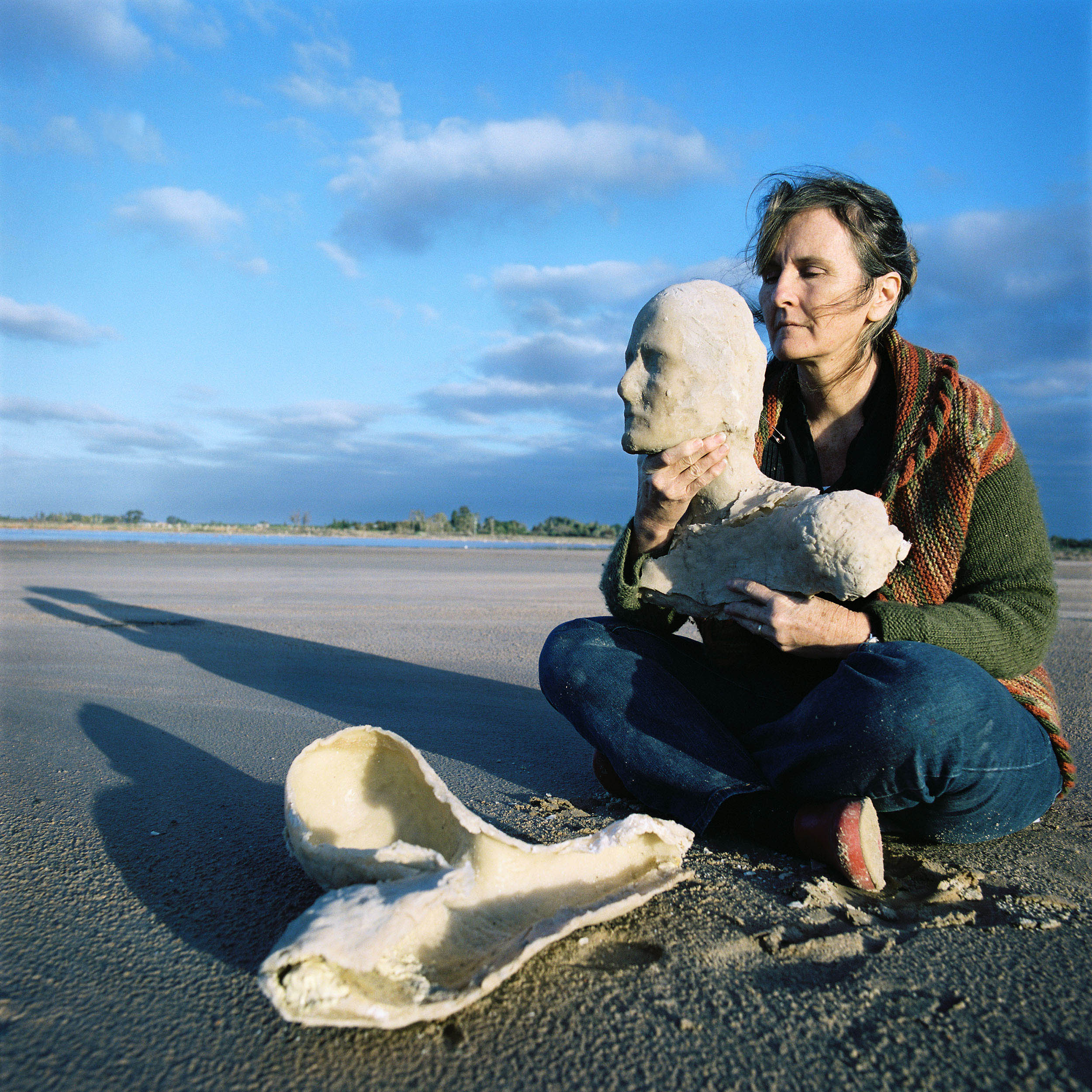 Artist Denise James at Lambert's Swamp, Merbein, VIC, 2010 with her artwork entitled 'The Dance,' a beeswax sculpture inspired by the dryness of the swamp and her experience of Parkinsons.