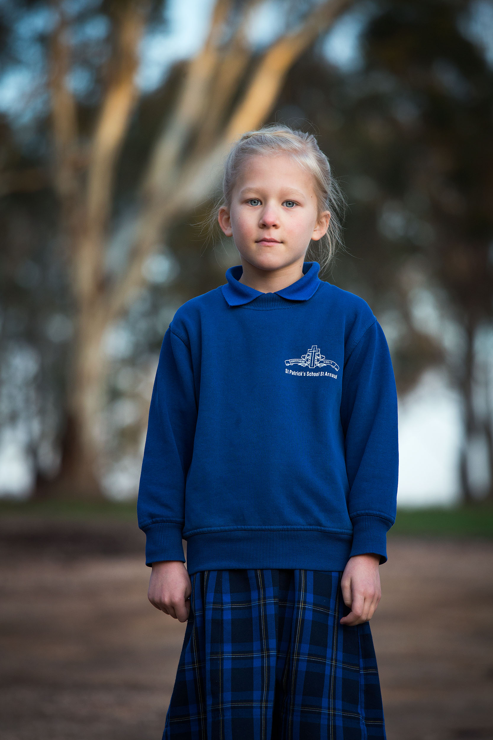 Seven year old Lara, ready to leave for school, St Arnaud, VIC.
