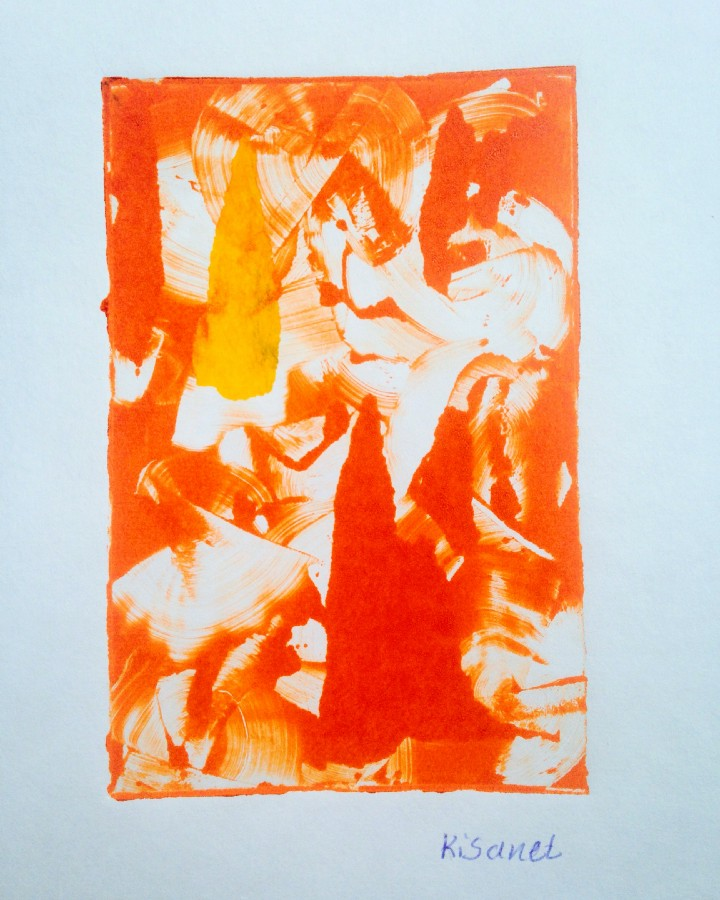 A print made by Kisanet, one of the young artists, as a gift for the author. Photo: Karen Frances Eng