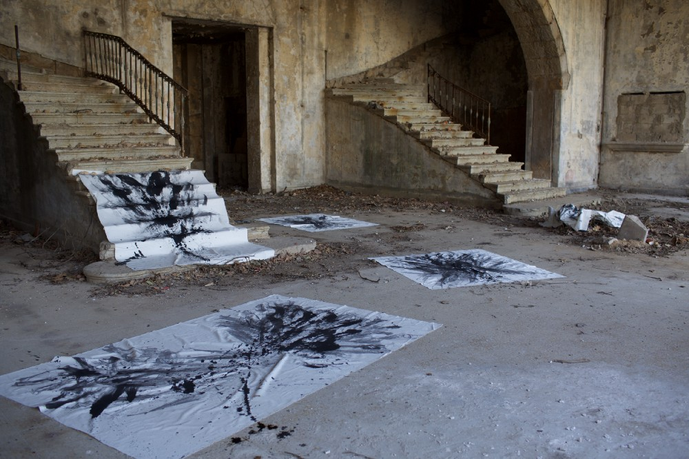 el Khalil's site specific paintings at the Grand Hotel Sawfar, Lebanon. 2015.