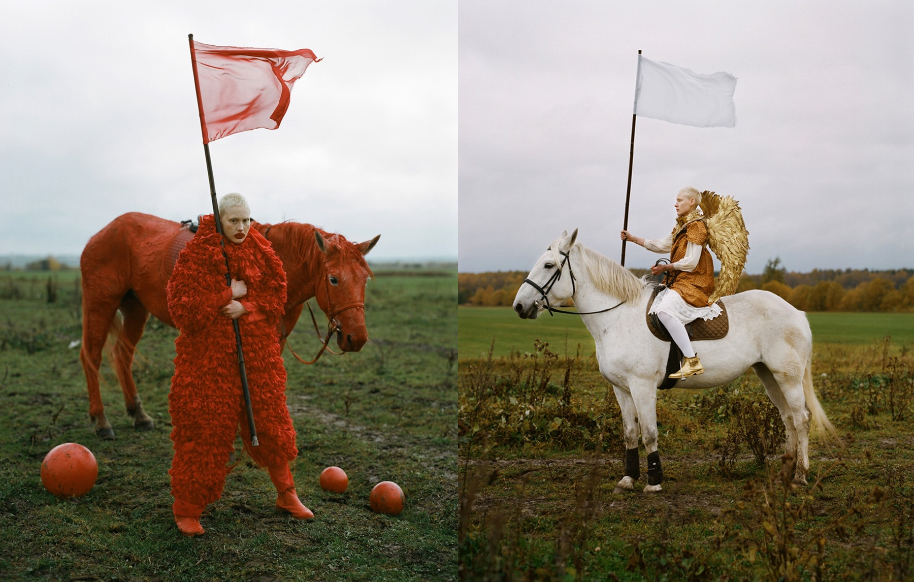 """Clowns vs. archangels. """"The red horseman/clown represents all revolutionists and politicians at the time of the Bolshevik Revolution, the Red Guard, and its absurdity. The white horseman or archangel represents the White opposition and faith, hope and purity."""" All images and words: Uldus Bakhtiozina"""