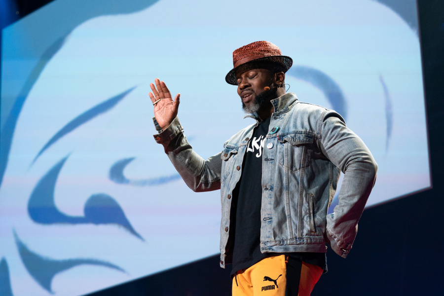 In a spoken-word piece, writer Marc Bamuthi Joseph investigates the pride and terror of seeing his son enter adulthood. He speaks at Fellows Session 1 at TED2019: Bigger Than Us, April 15, 2019, Vancouver, BC, Canada. (Photo: Ryan Lash / TED)