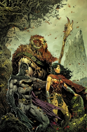 Batman and wonder Woman, stuck in the cover art of a metal album via  Brave and the Bold #3.