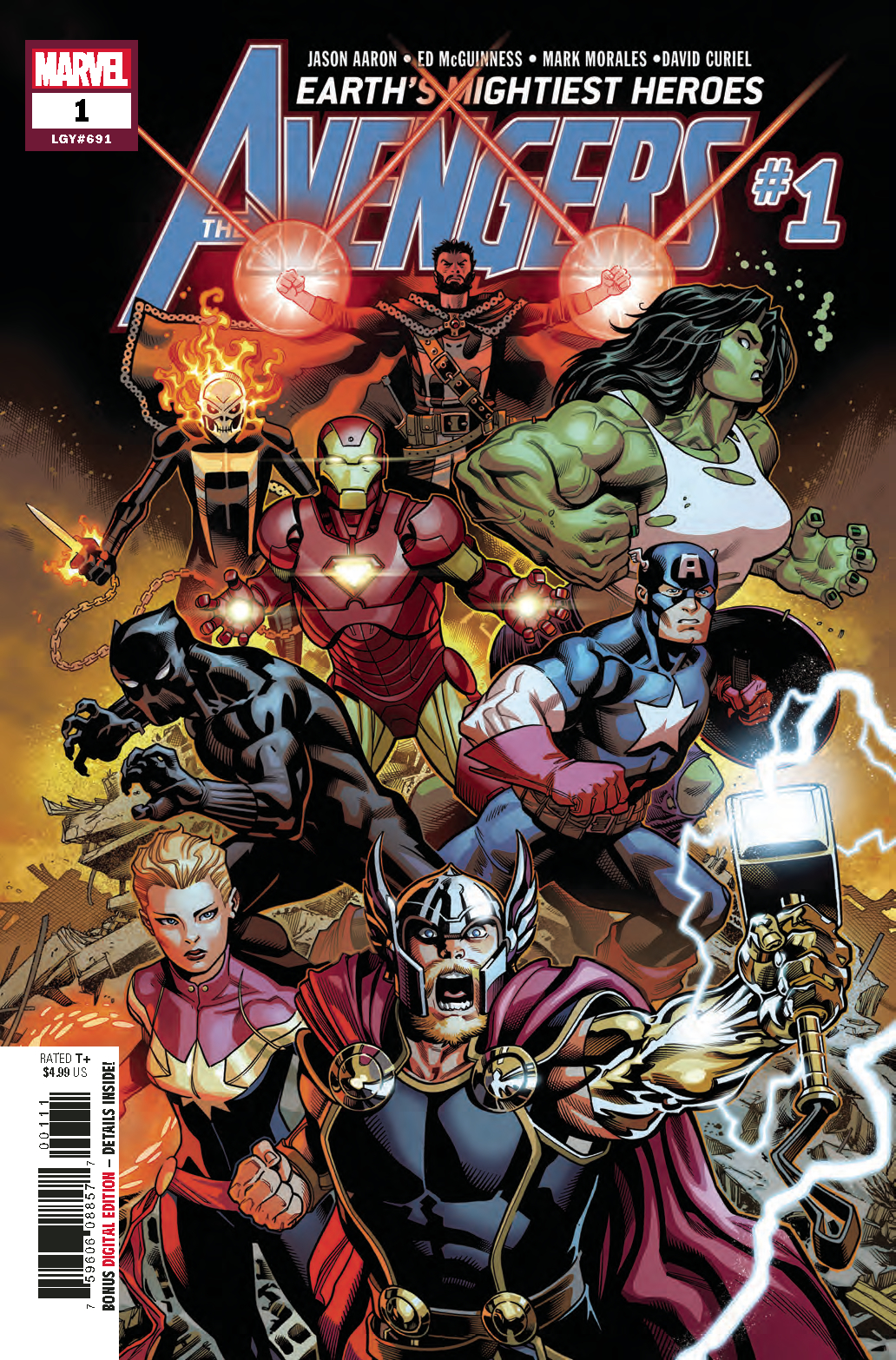 Jason Aaron's  Avengers #1  story spans history.
