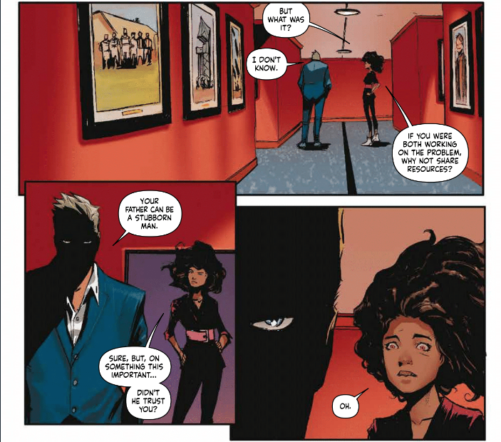 Skyward  expertly uses storytelling tools unique to comics, including a juxtaposition of the shading and reaction in the bottom right panel.