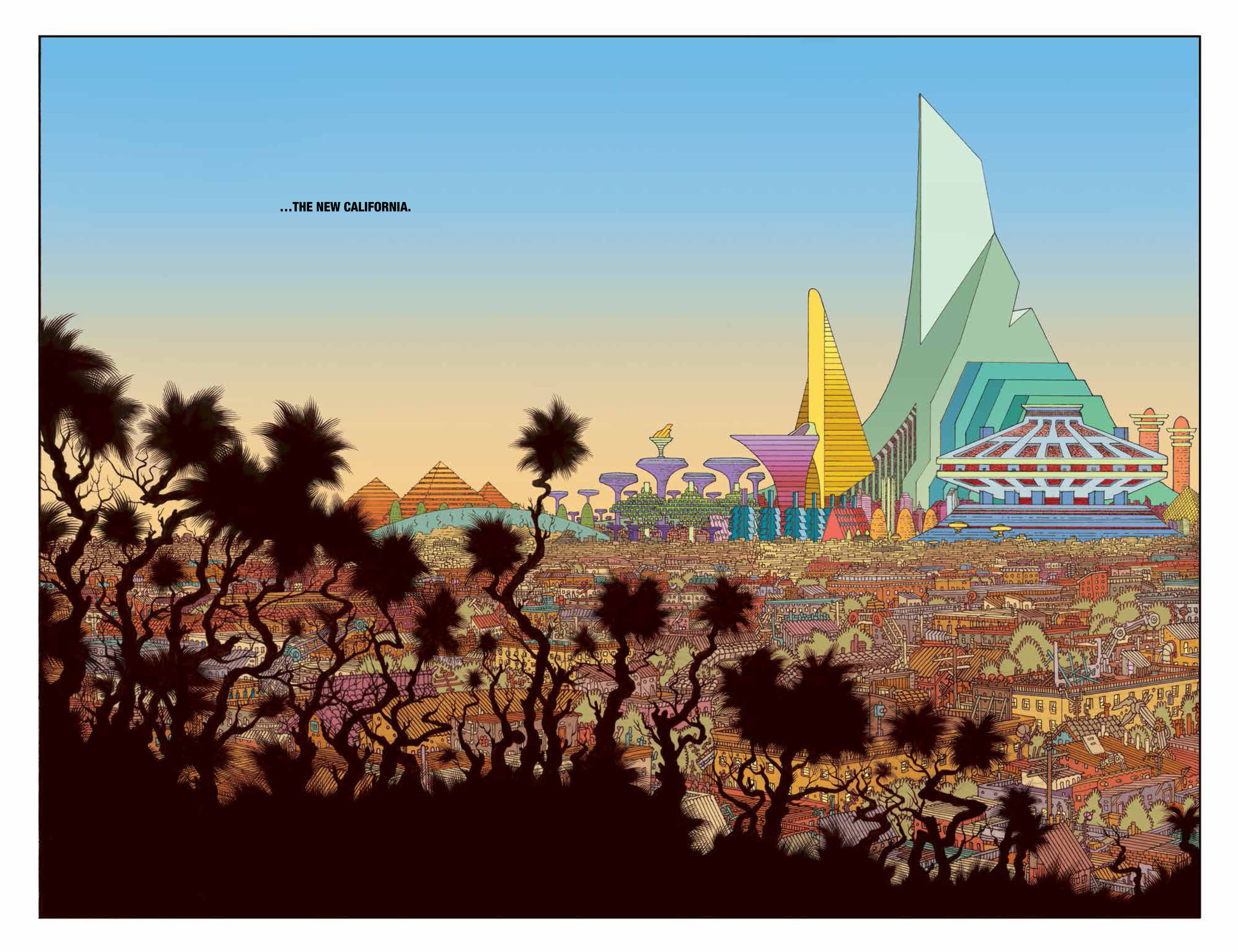 The New World #1  's  colorful-yet-bleak reimagining of Los Angeles.