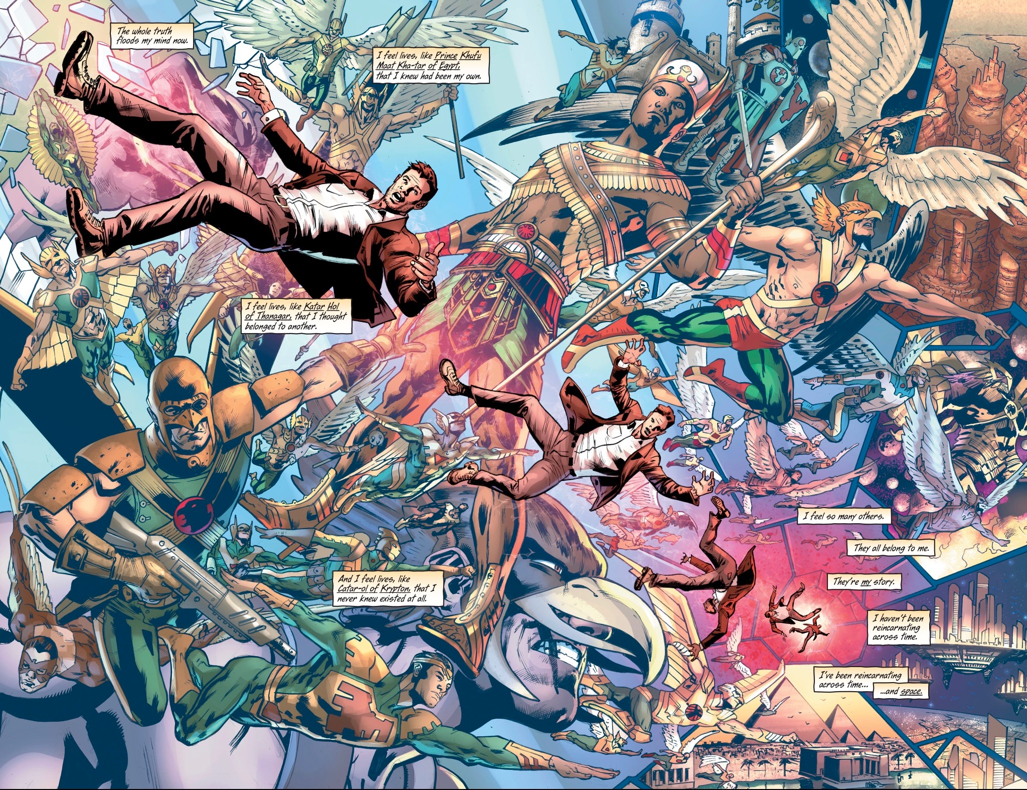 This killer spread from  Hawkman #1  does a great job refreshing the current state of Hawkman's continuity.