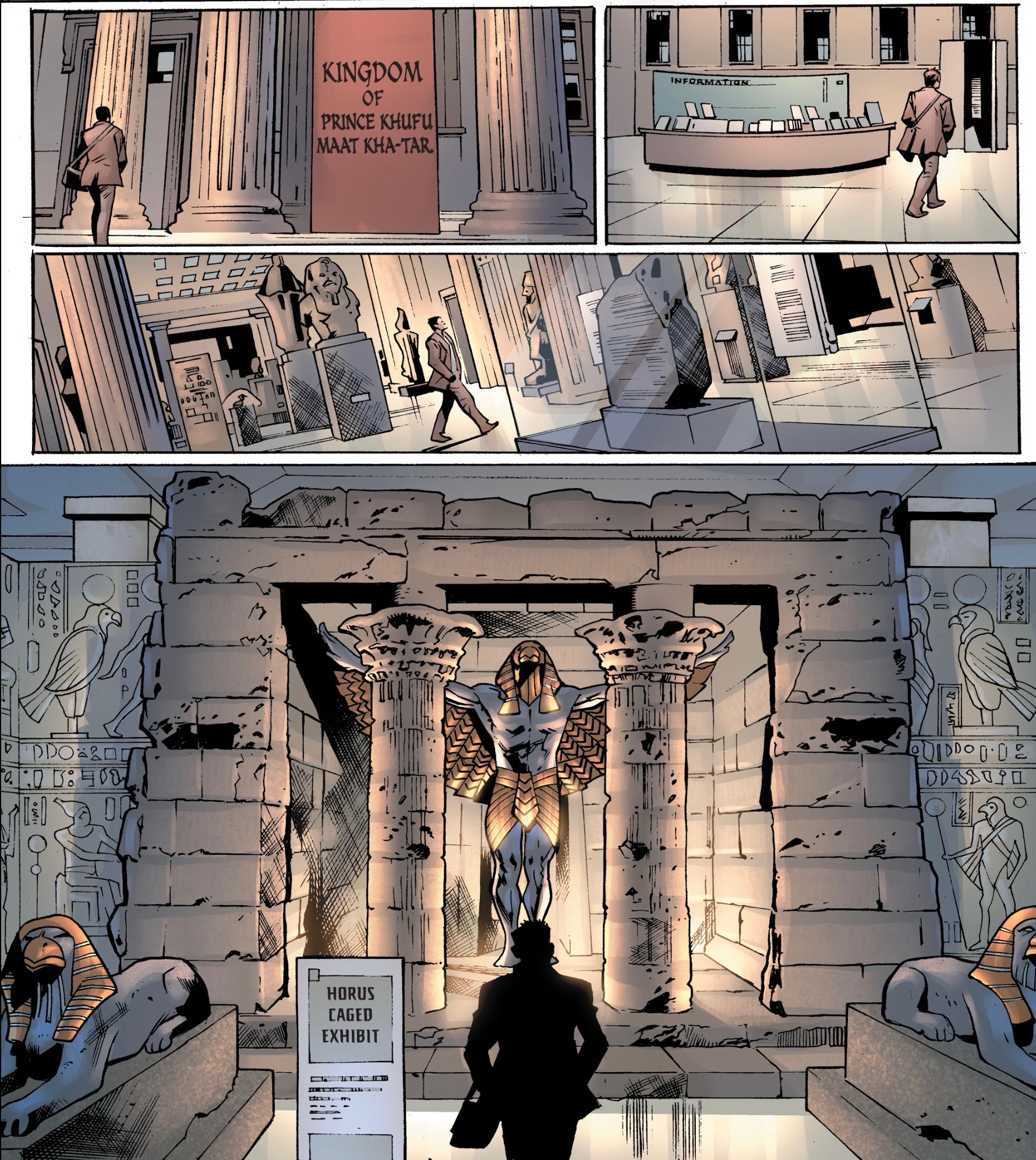 The significant of an epic quest can sometimes get lost if there's nothing present to ground a character, which Venditti and Hitch do well in this museum scene from  Hawkman #2.