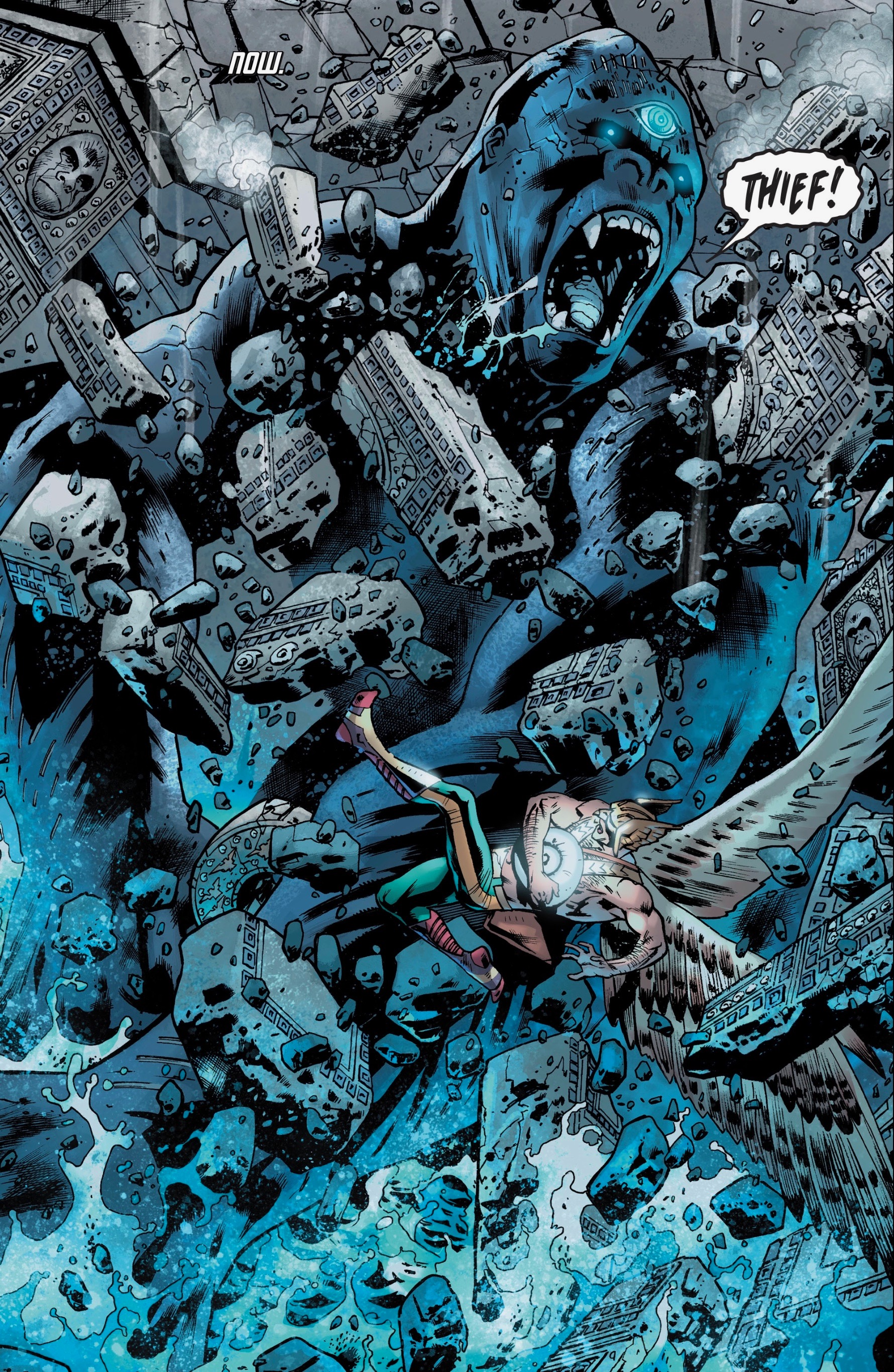 What's an adventure that travels through space and time without giant angry monsters? Scene from  Hawkman #1.