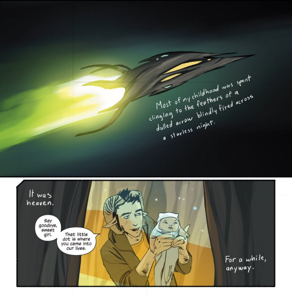 In  Saga #6 , the narration continues to do so much work, floating through panels like wisps of nostalgia gently tinging all that's taking place.