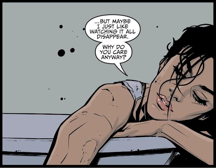 Me- owwww  (art by Joelle Jones from  Catwoman #3 ).