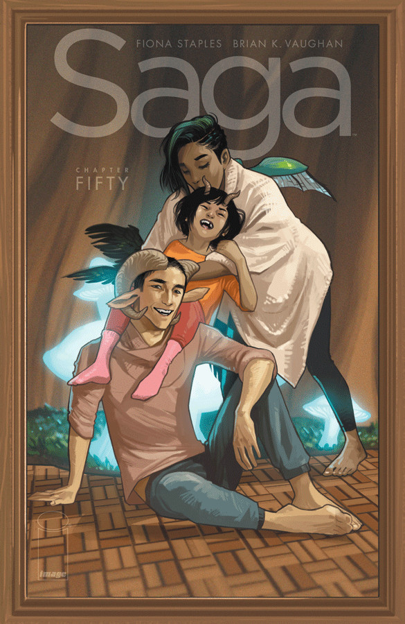 Saga #50  (cover by Fiona Staples) finds the family in happier times.