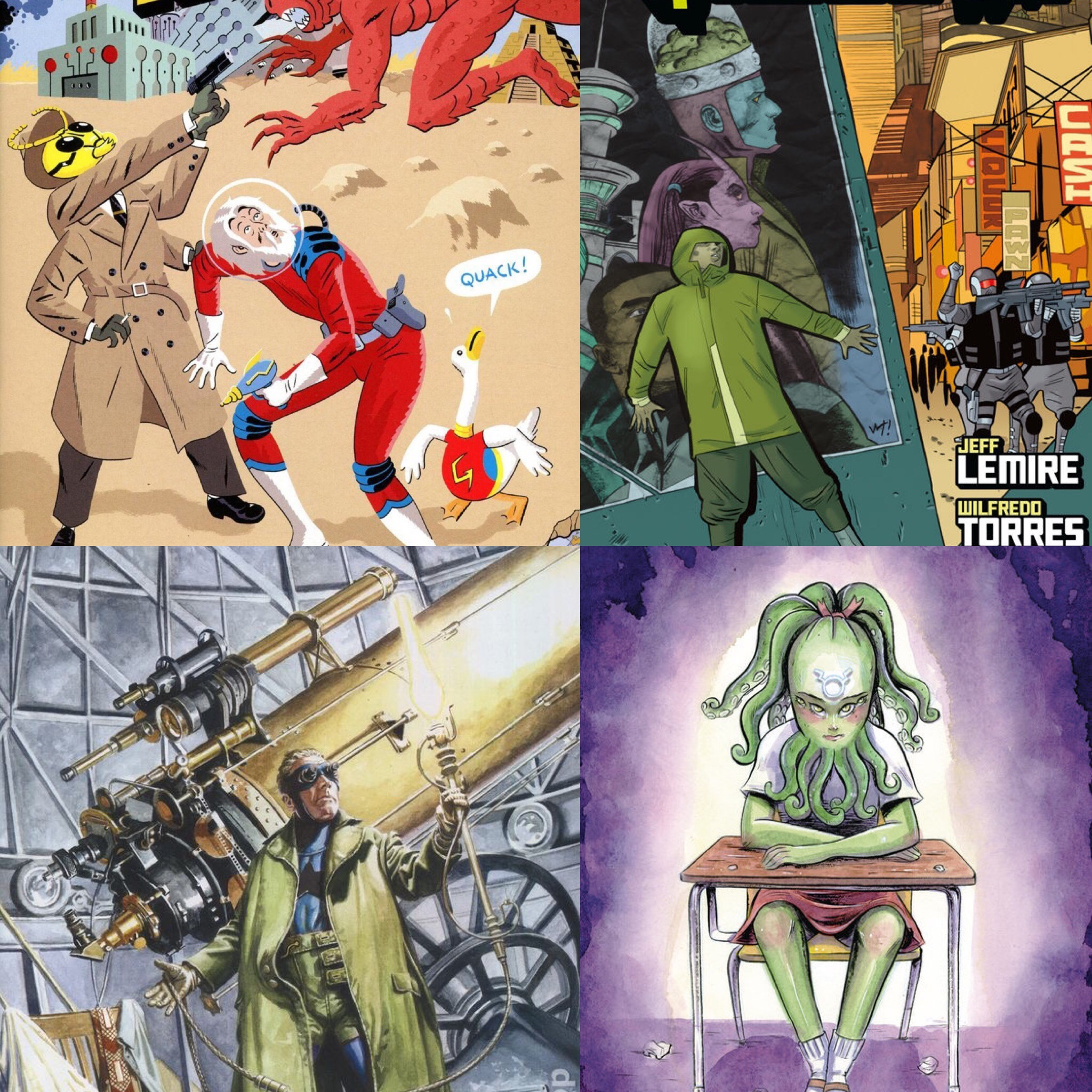 Black Hammer: Age of Doom, Quantum Age, Doctor Star, and Chtu-Louise.
