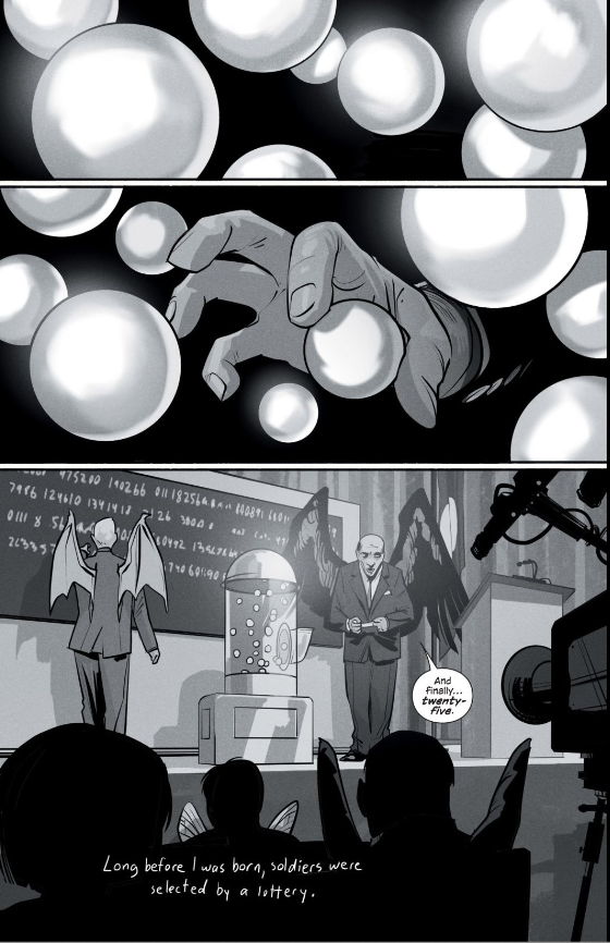 This uncharacteristic  Saga  first page starts our first super broad view of the war at the heart of this series.
