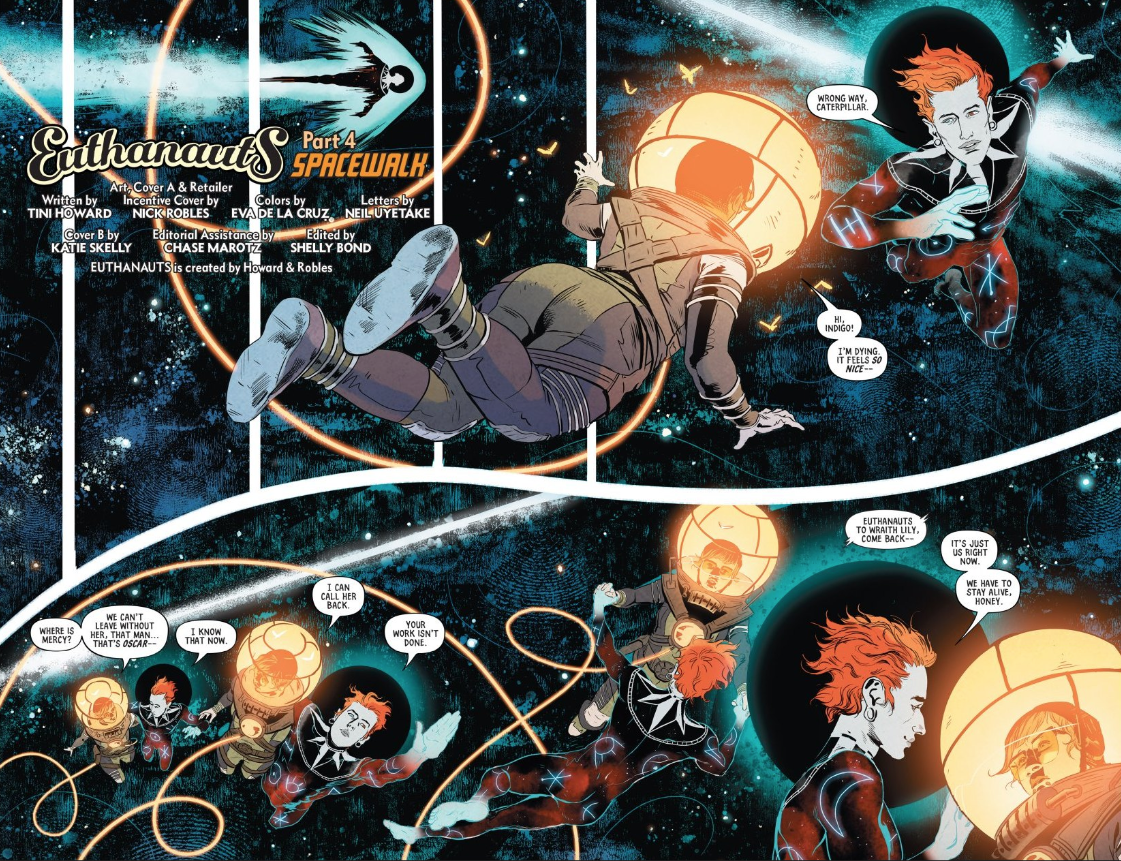 This is just a some of  Euthanauts'  incredible artwork. By Nick Robles and Eva de la Cruz.