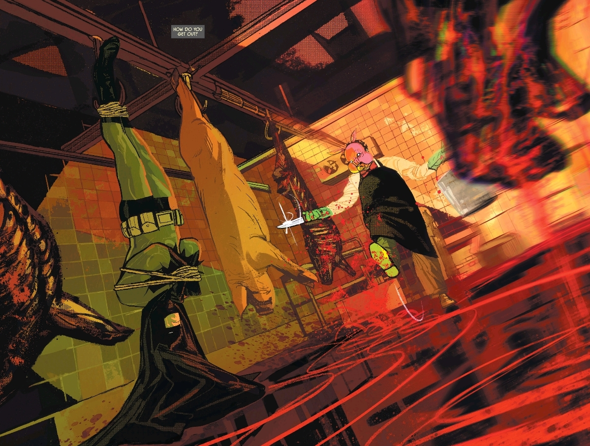 Gerads distortion and colors heighten the intensity of the mood in  Batman #62.