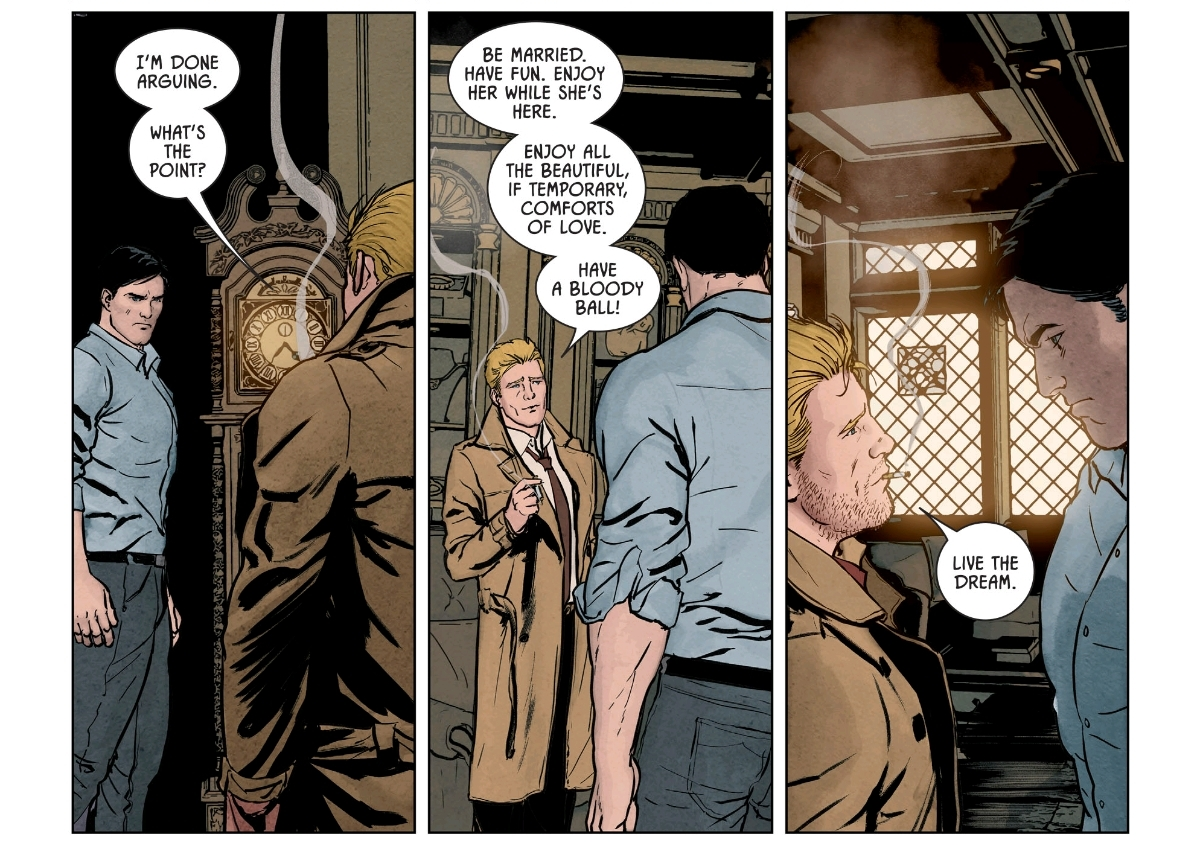 Constantine is one of the first (but not the last) defense mechanisms Bruce conjures to try to escape his torture in  Knightmares.