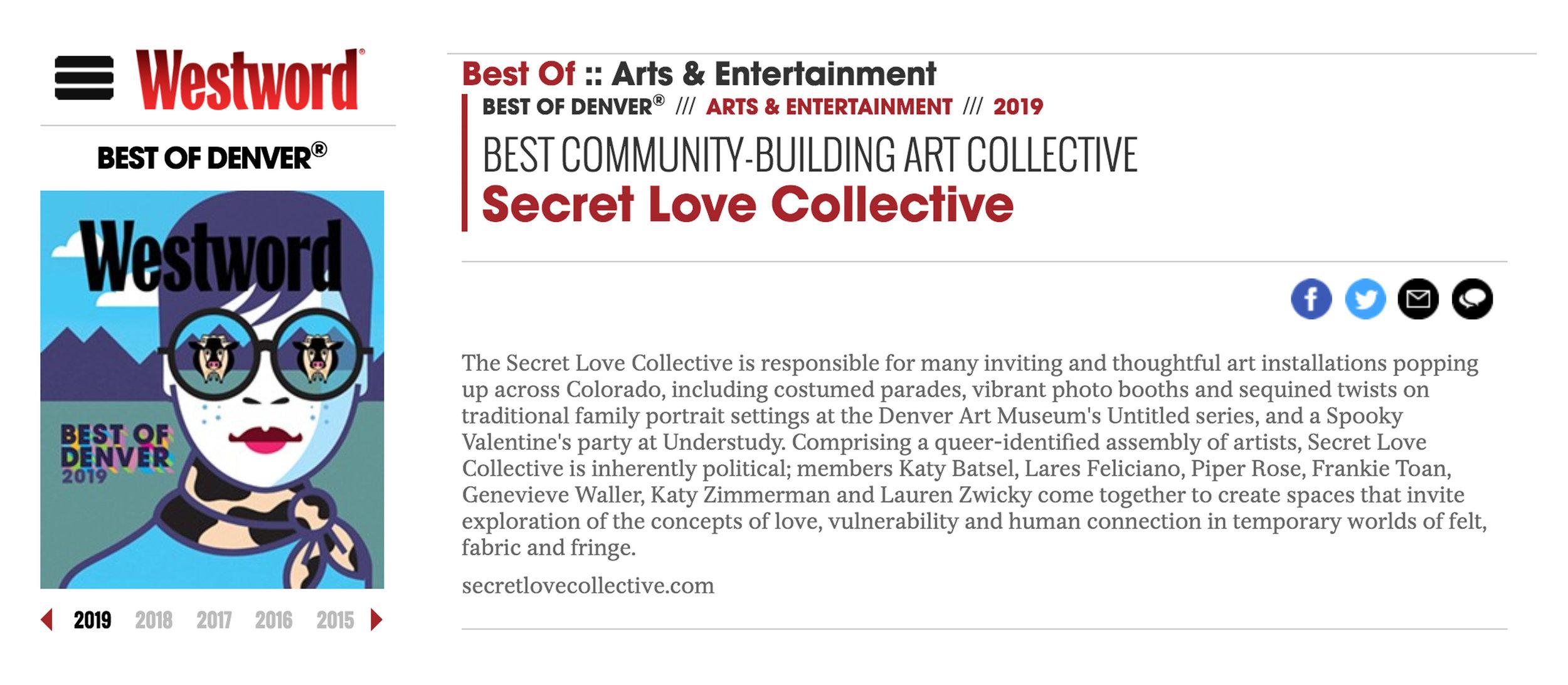 Best of Denver 2019 Best Community-Building Art Collective Secret Love Collective - https://www.westword.com/best-of/2019/arts-and-entertainment/best-community-building-art-collective-11283201