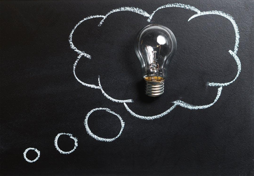 light bulb idea in a cloud