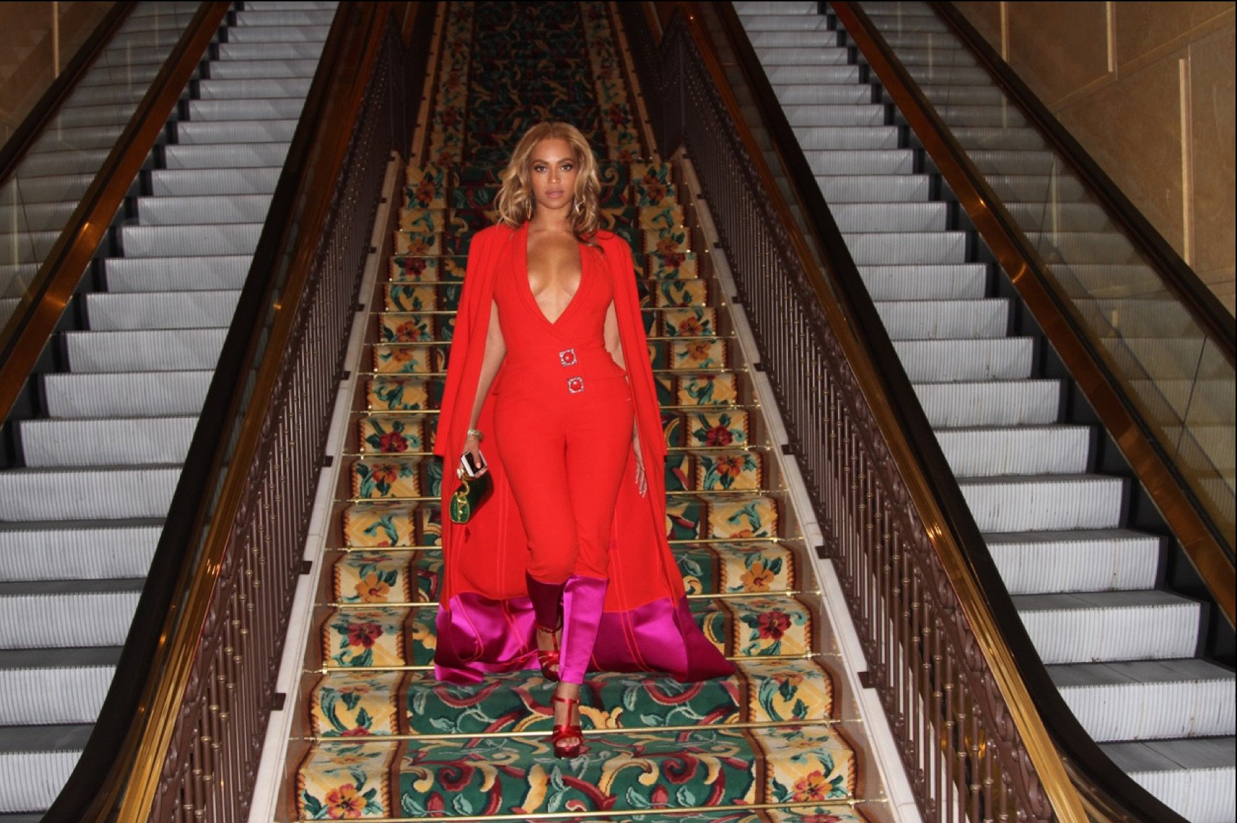 Beyoncé wearing custom caped pantsuit by HARBINSON, 2015.