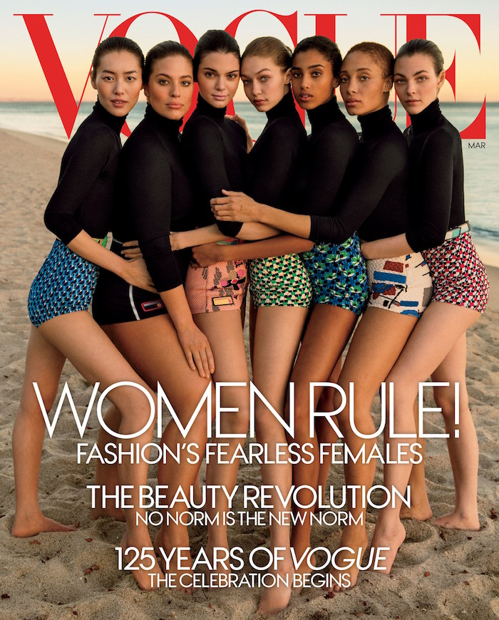 Vogue , March 2017. Model Ashley Graham is second from left.