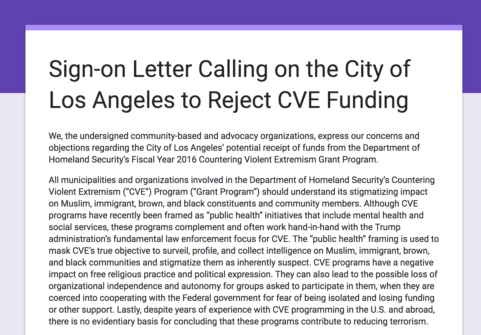 Organizational Sign On Letter - The Council on American Islamic Relations - Los Angeles in partnership with a coalition of organizations circulated an organizational sign on letter with a response of over 60+ orgs signing on. This letter was presented to LA City Council.