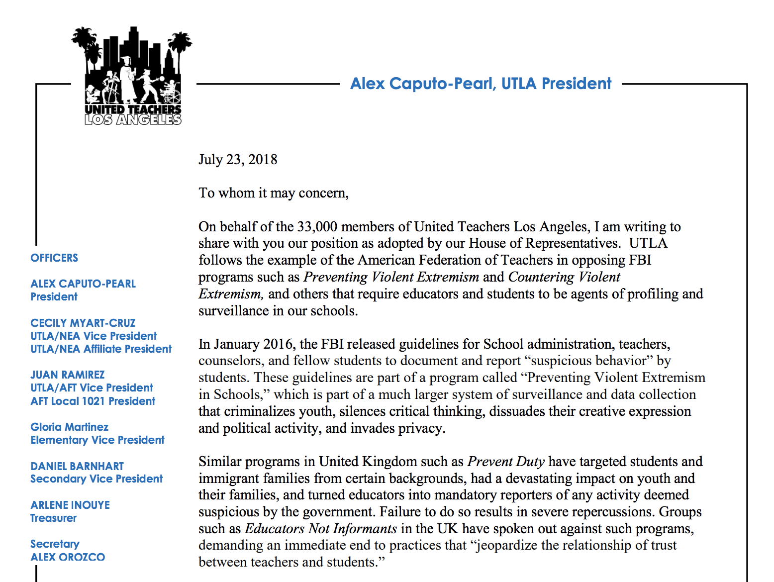 UTLA Anti-CVE Letter - The United Teachers of Los Angeles representing 33,000 teachers in Los Angeles in coalition with Stop LAPD Spying Coalition,Palestinian Youth Movement, Black Students Union and Immigrant Youth Coalition released a letter firmly opposing CVE.