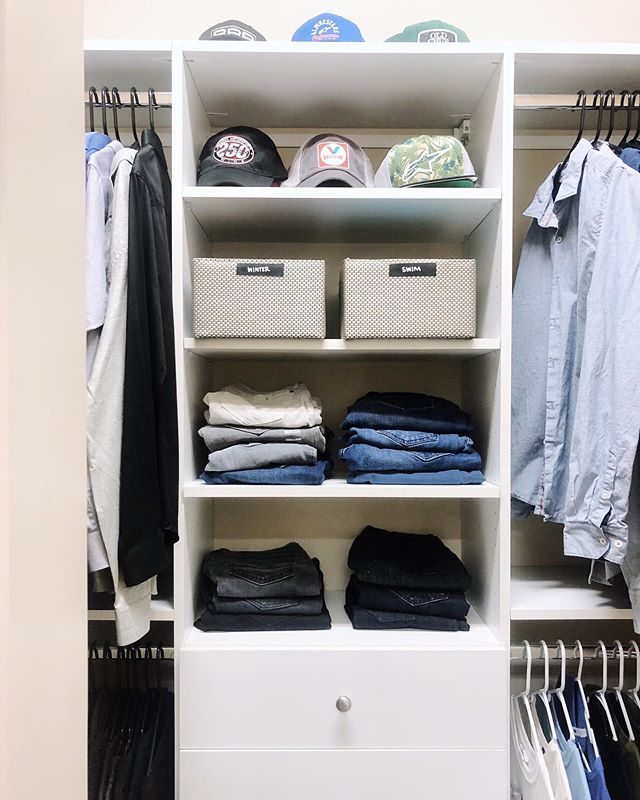 One of the best feelings is stopping by a client's house and finding a space just as organized as when we left - especially when it's the man's closet! ⠀⠀⠀⠀⠀⠀⠀⠀⠀ We hope your Monday feels just as good.