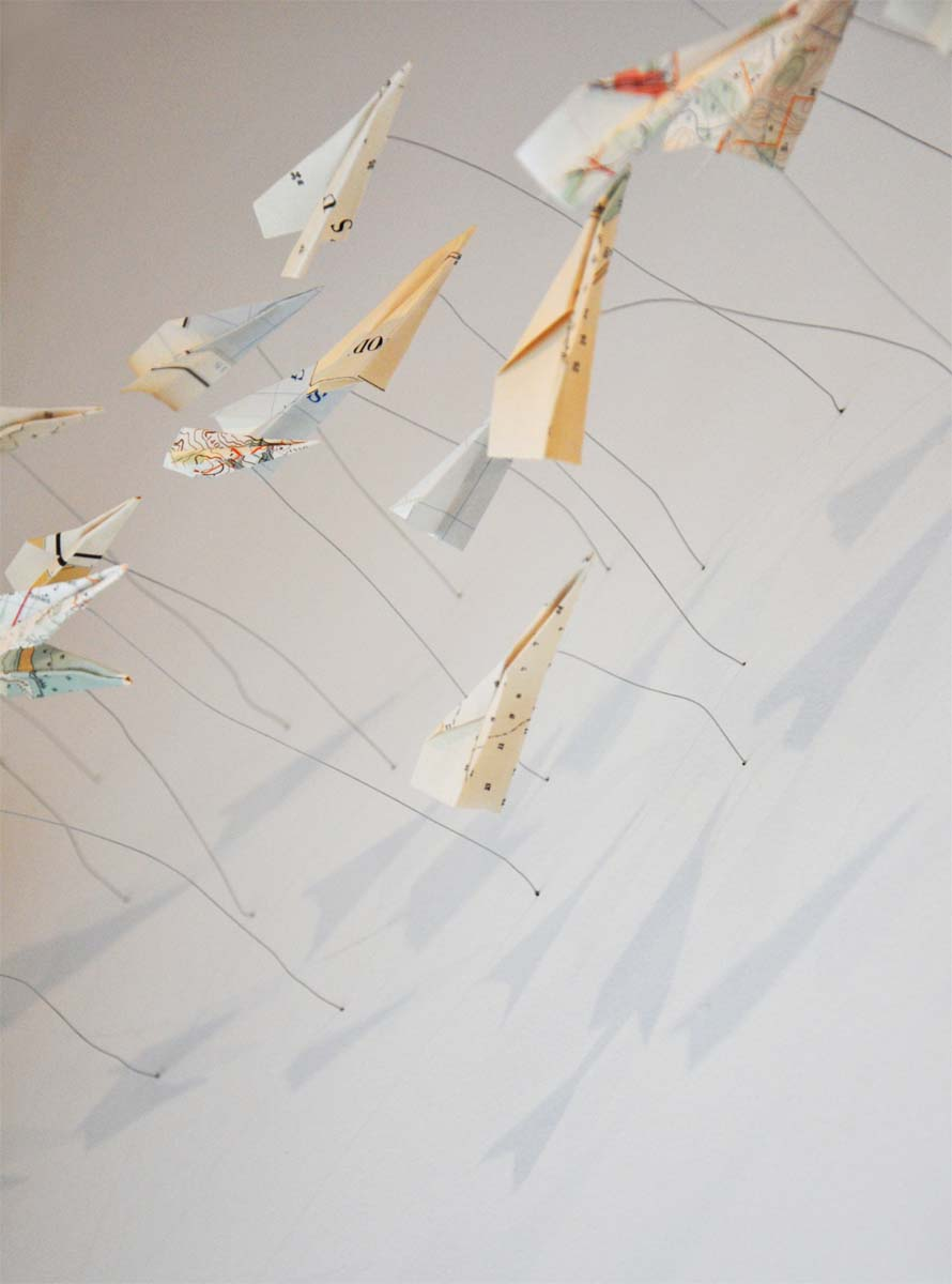 Airplanes (detail) vintage nautical charts 2014, Heavy Weightlessness - Alison Milne Gallery