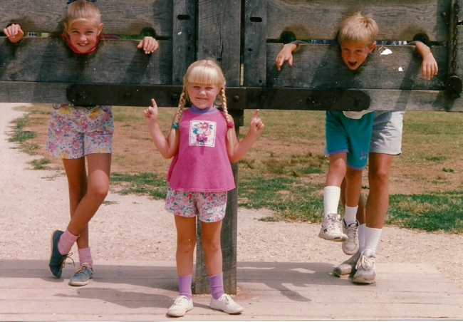 I grew up in southwestern Virginia, so visits to historic Williamsburg came with the territory. Here's me, my 4-years younger brother and 5-years younger sister. Also, my dad's legs and high socks.