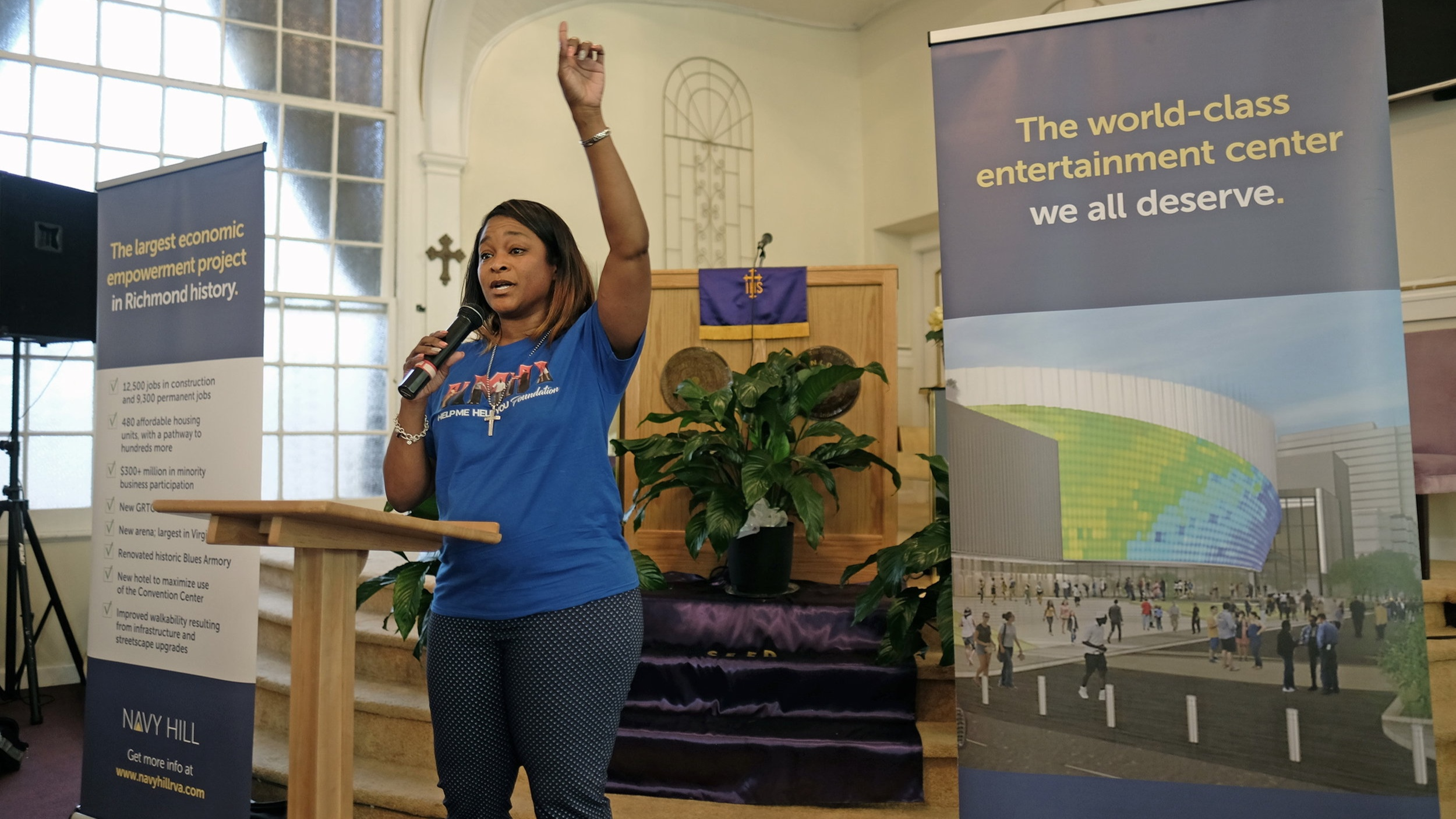 Michelle Mosby, former city councilwoman and a partner of the Navy Hill project through her nonprofit Help Me Help You Foundation, speaks at a recent jobs event at the New Life Deliverance Tabernacle in Manchester.