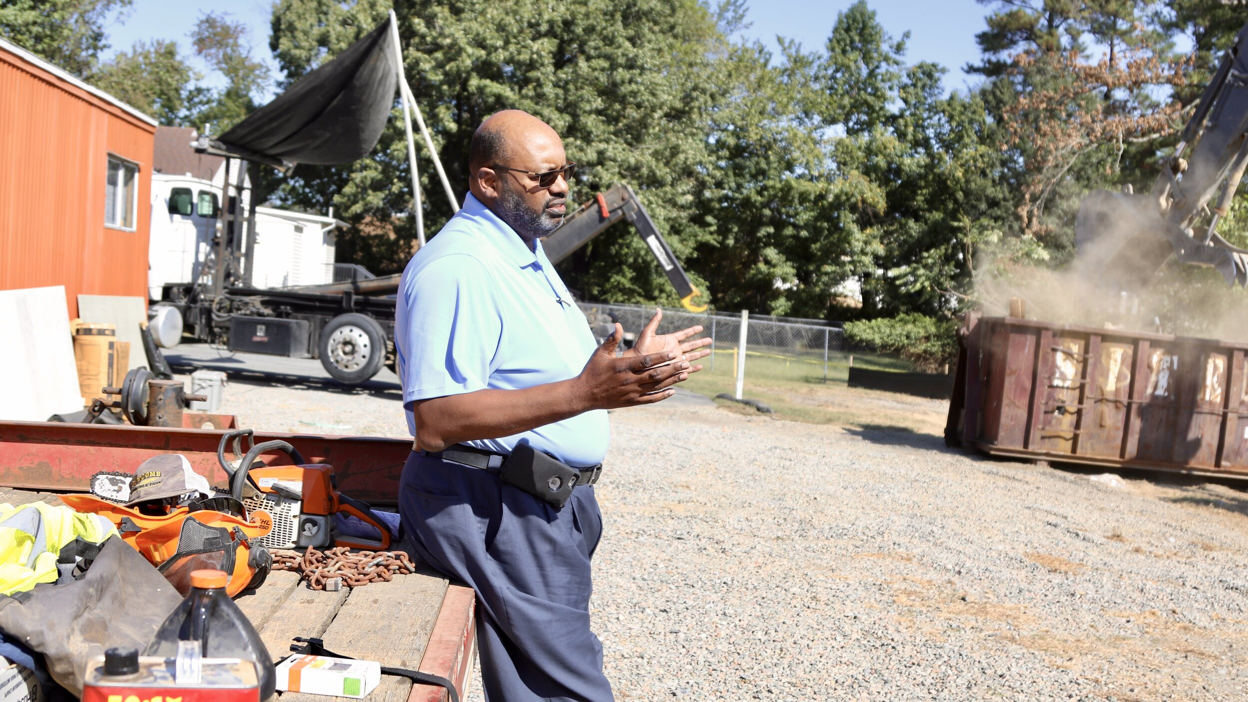 Navy Hill MBE contractor Ken Jones talks Navy Hill and his plans for a nonprofit workforce training program at his company headquarters off Turner Road in North Chesterfield.