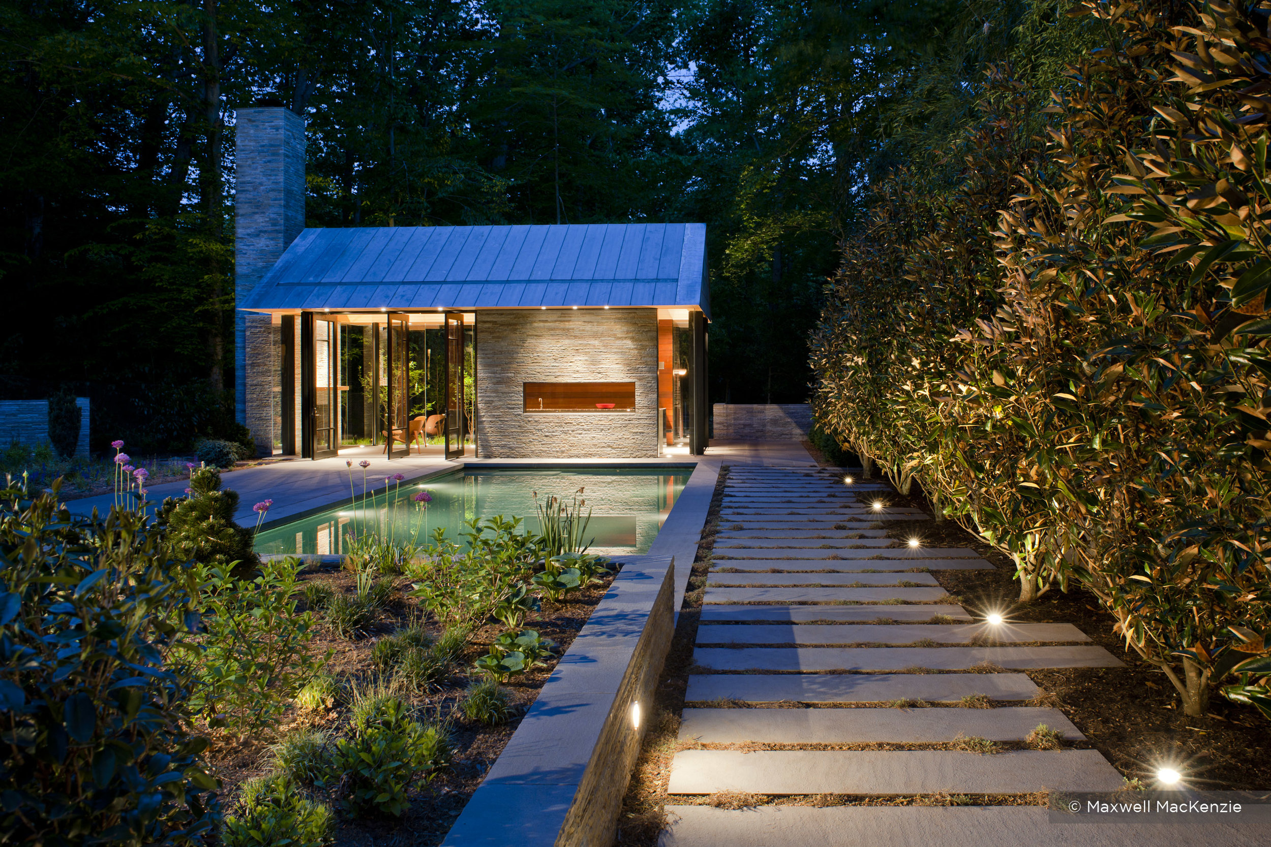 A modern pool house in Bethesda. Architecture by Robert Gurney. Photo by Max McKenzie. Design done at Rhodeside & Harwell.