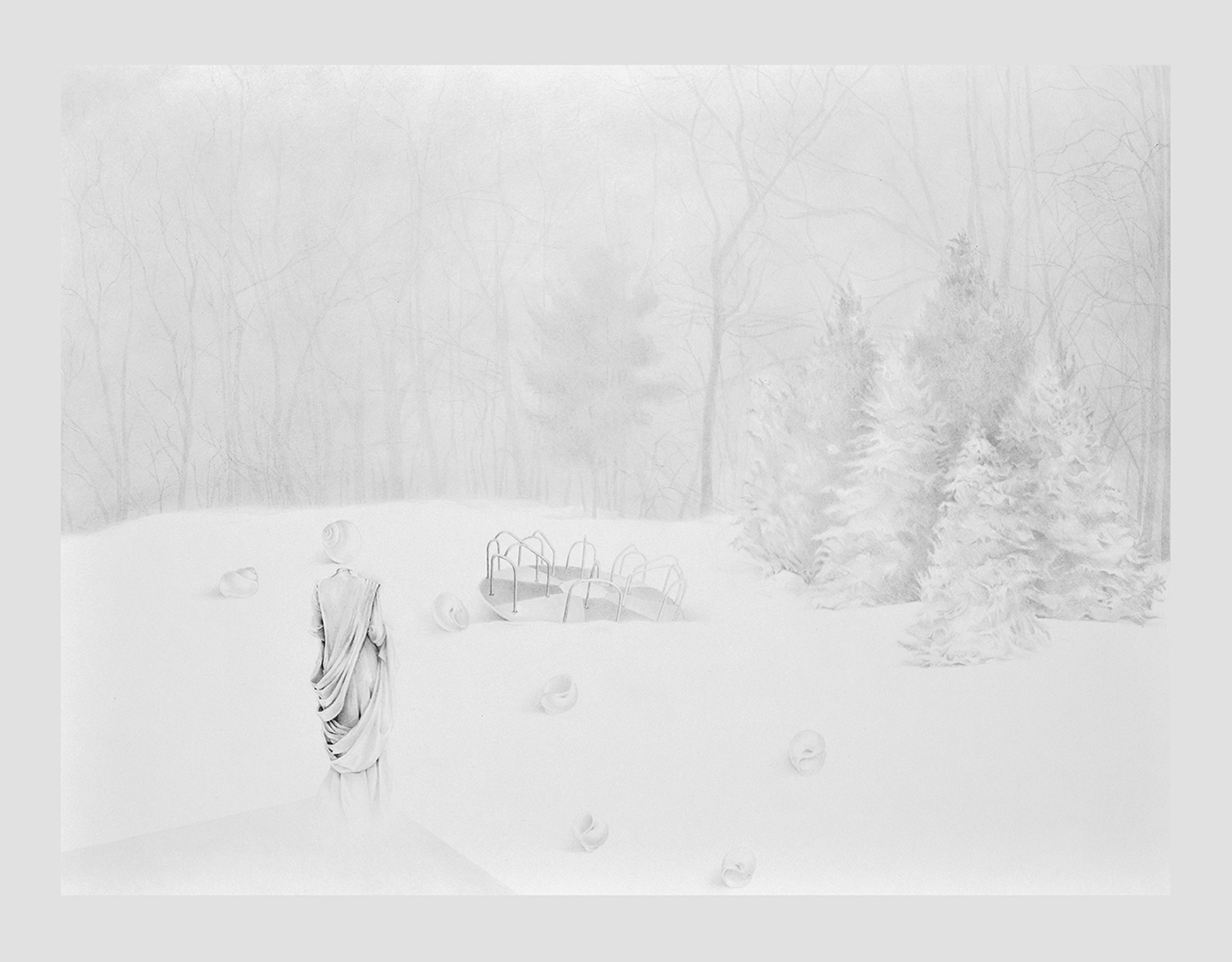 """Abandoned, 30""""X22"""", Graphite on Paper, 2018"""