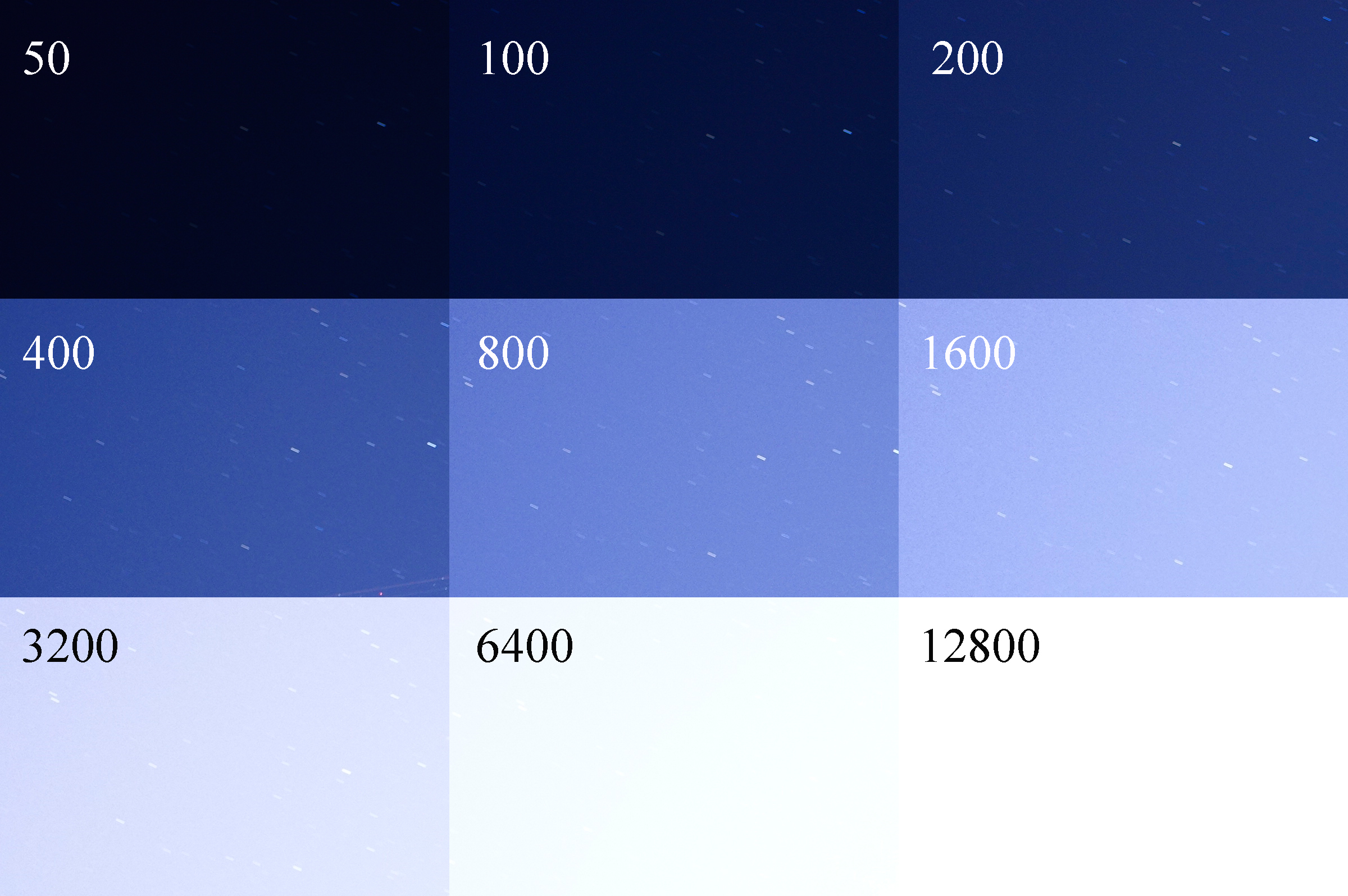 I kept the aperture at f2.8 and the shutter at 30 seconds, the ISO was changed to show the difference between the light sensitivity. More stars can be seen until it gets blocked out by ambient light. At 400 there was a plane flying through the frame.  *I changed the image to 100% crops of the upper left corner so the stars would be more visible.