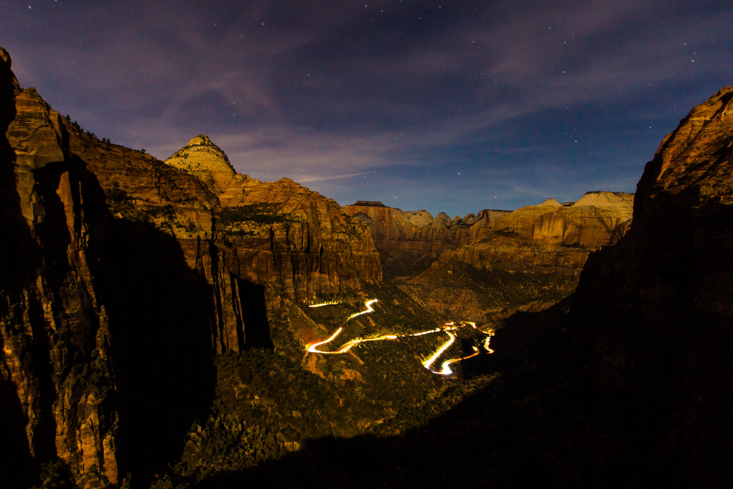 It was a near full moon so the canyon was visible except where the shadow was.