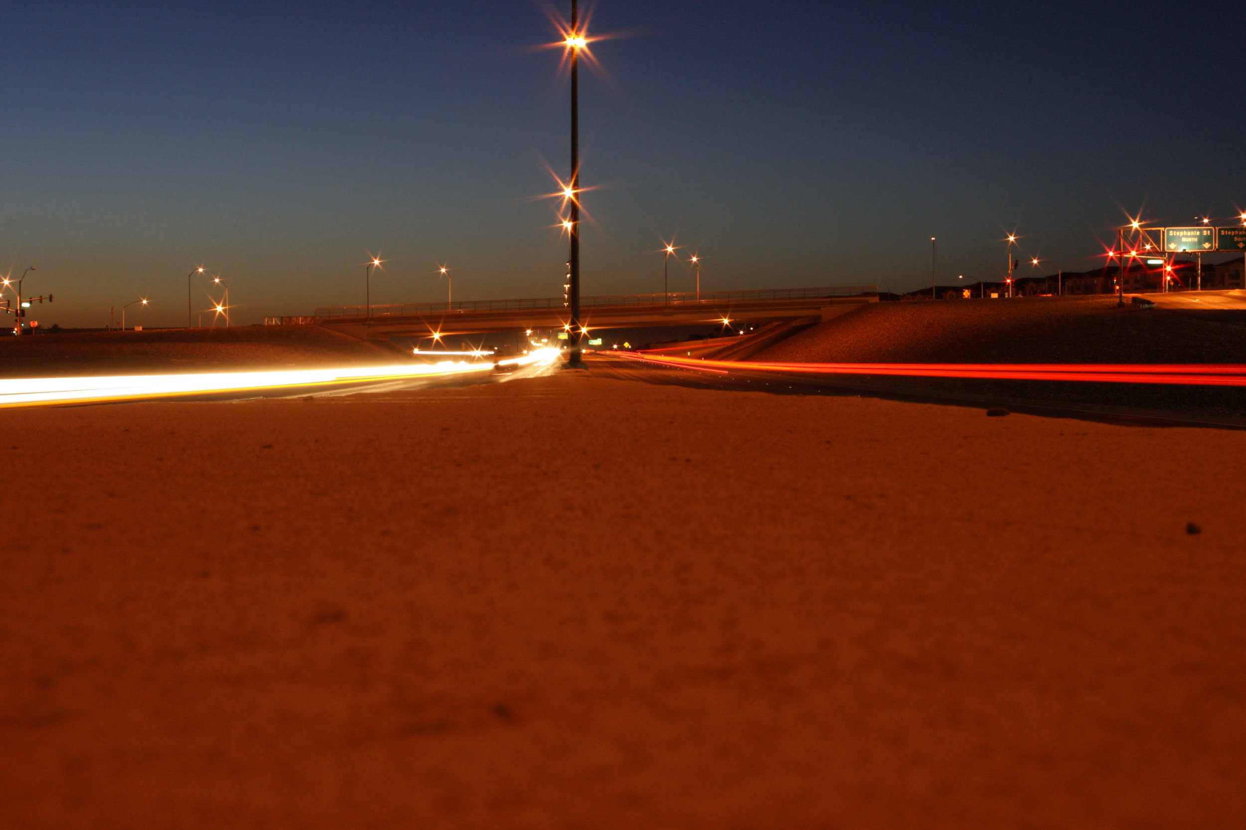 Here is an 8 s exposure at f18. The camera was sitting on the median and I used a self timer because I did not have a remote.