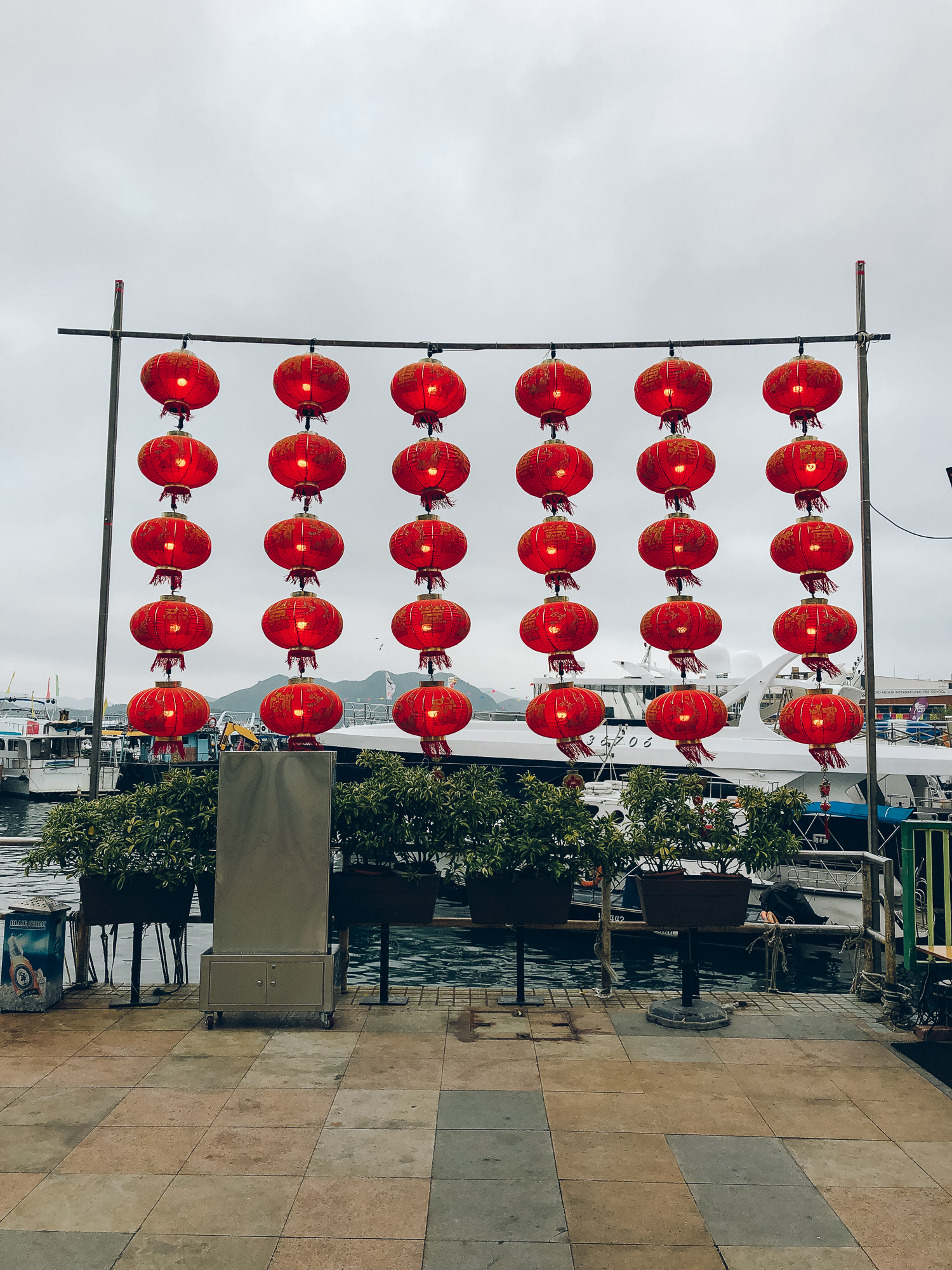 Lanterns by the sea in Sai Kung.