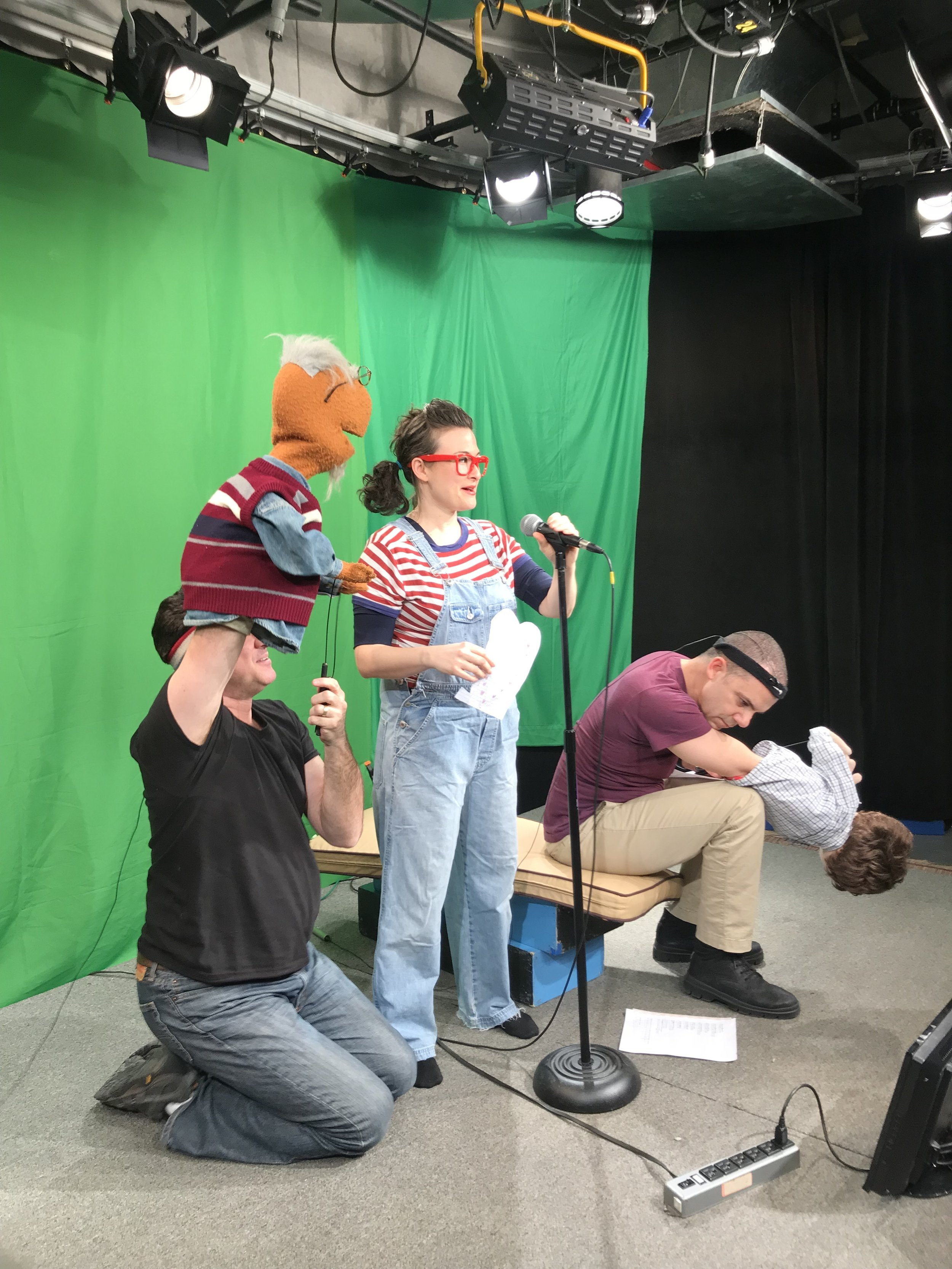 Puppet comedy magic with L to R - Grandpa (Josh Cohen), Sally (Tamra Malaga) and Victor (Paul McGinnis)