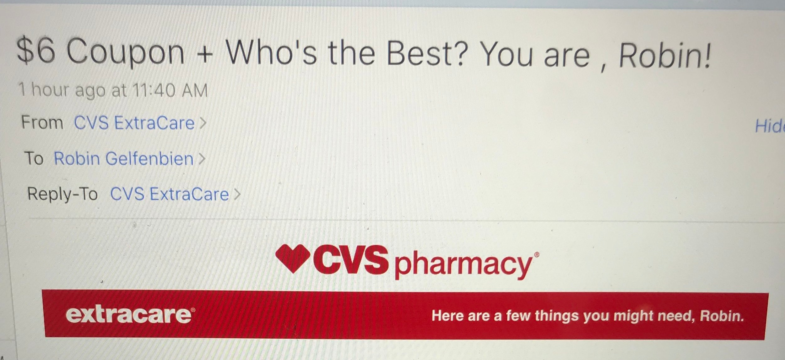 Don't try flirting with me, CVS.